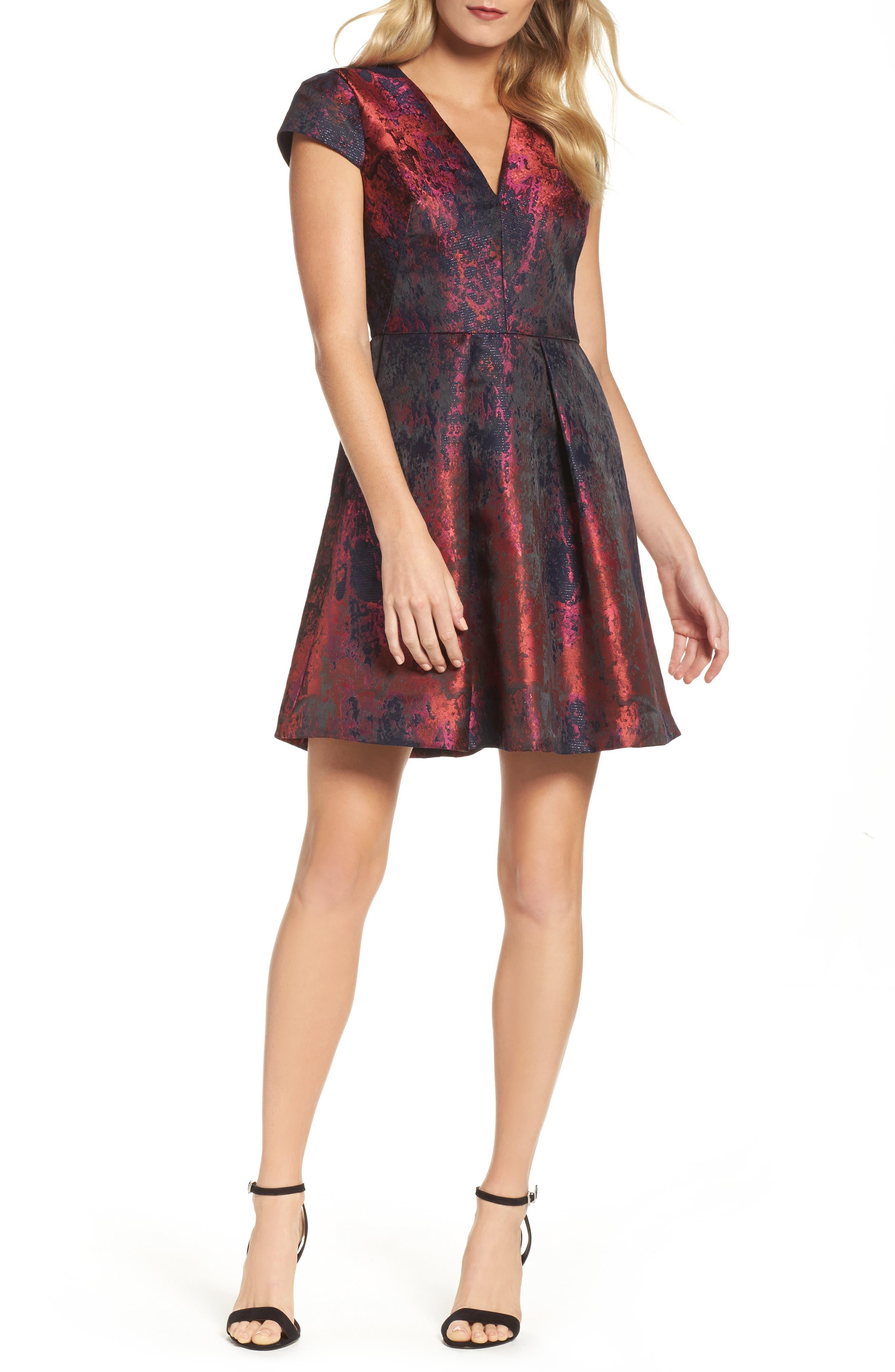 Jacquard Fit & Flare Dress,                             Main thumbnail 1, color,                             670