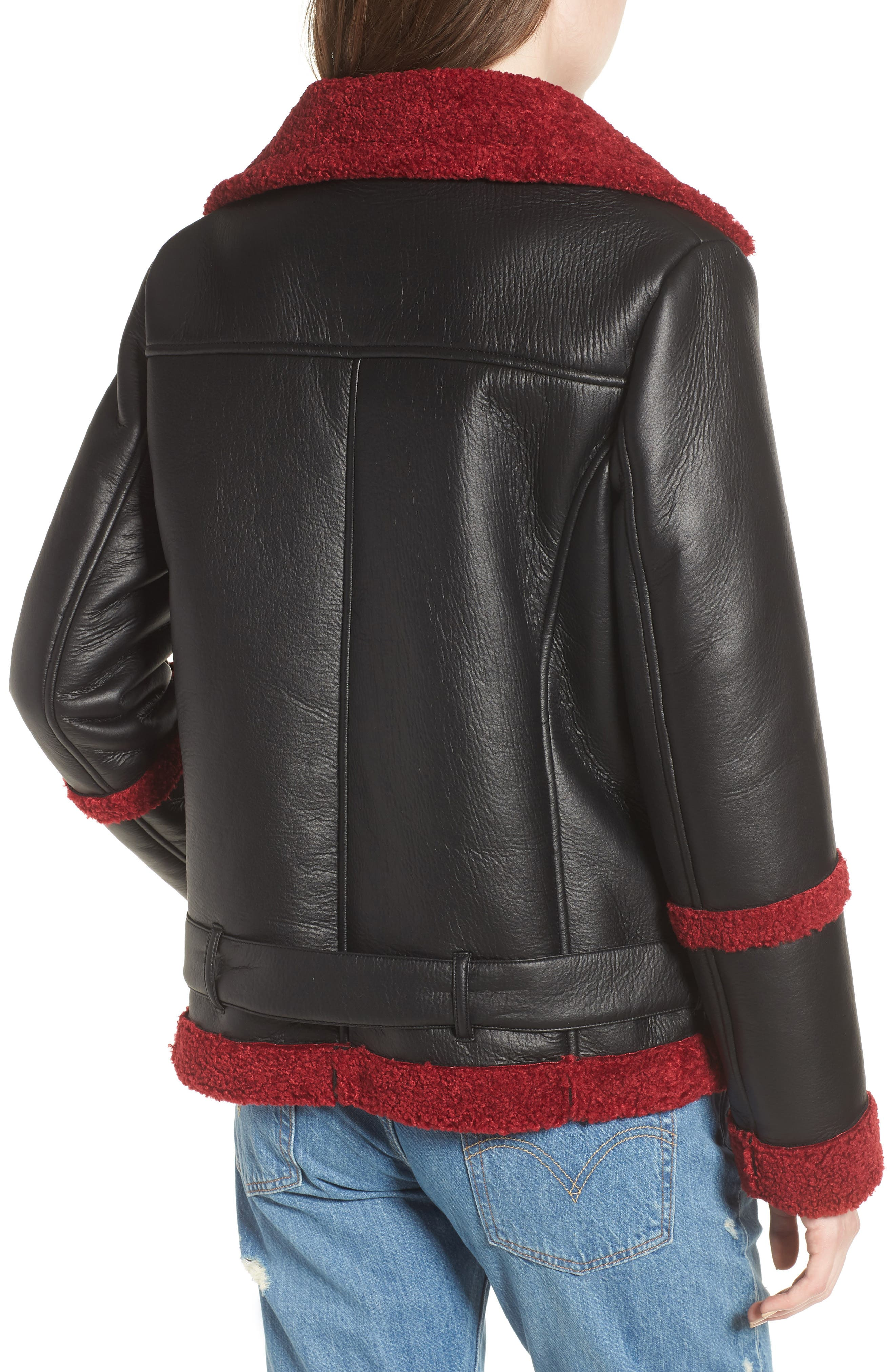 Oversize Faux Shearling Moto Jacket,                             Alternate thumbnail 2, color,                             001