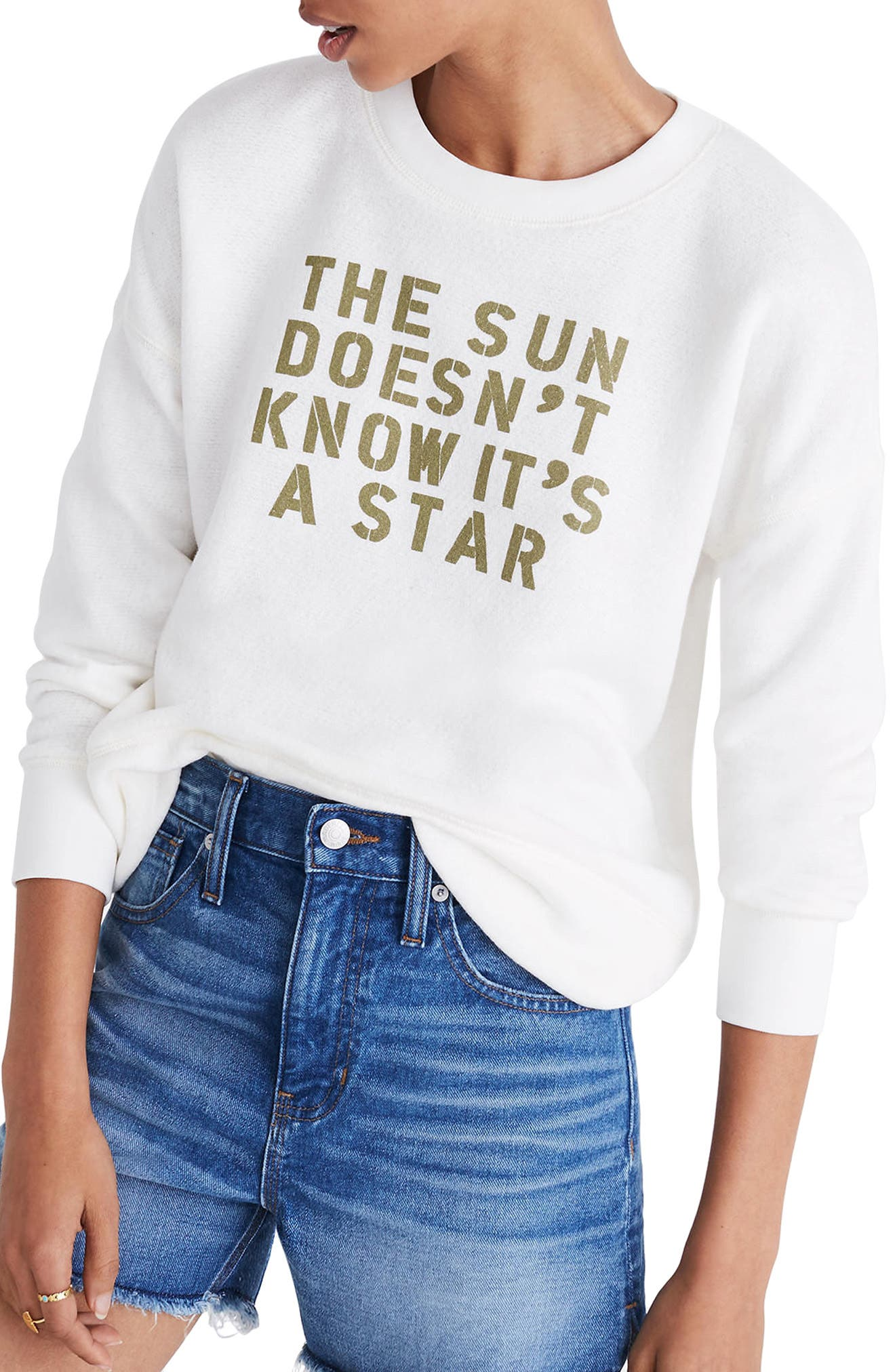The Sun Doesn't Know It's a Star Sweatshirt,                             Main thumbnail 1, color,                             021