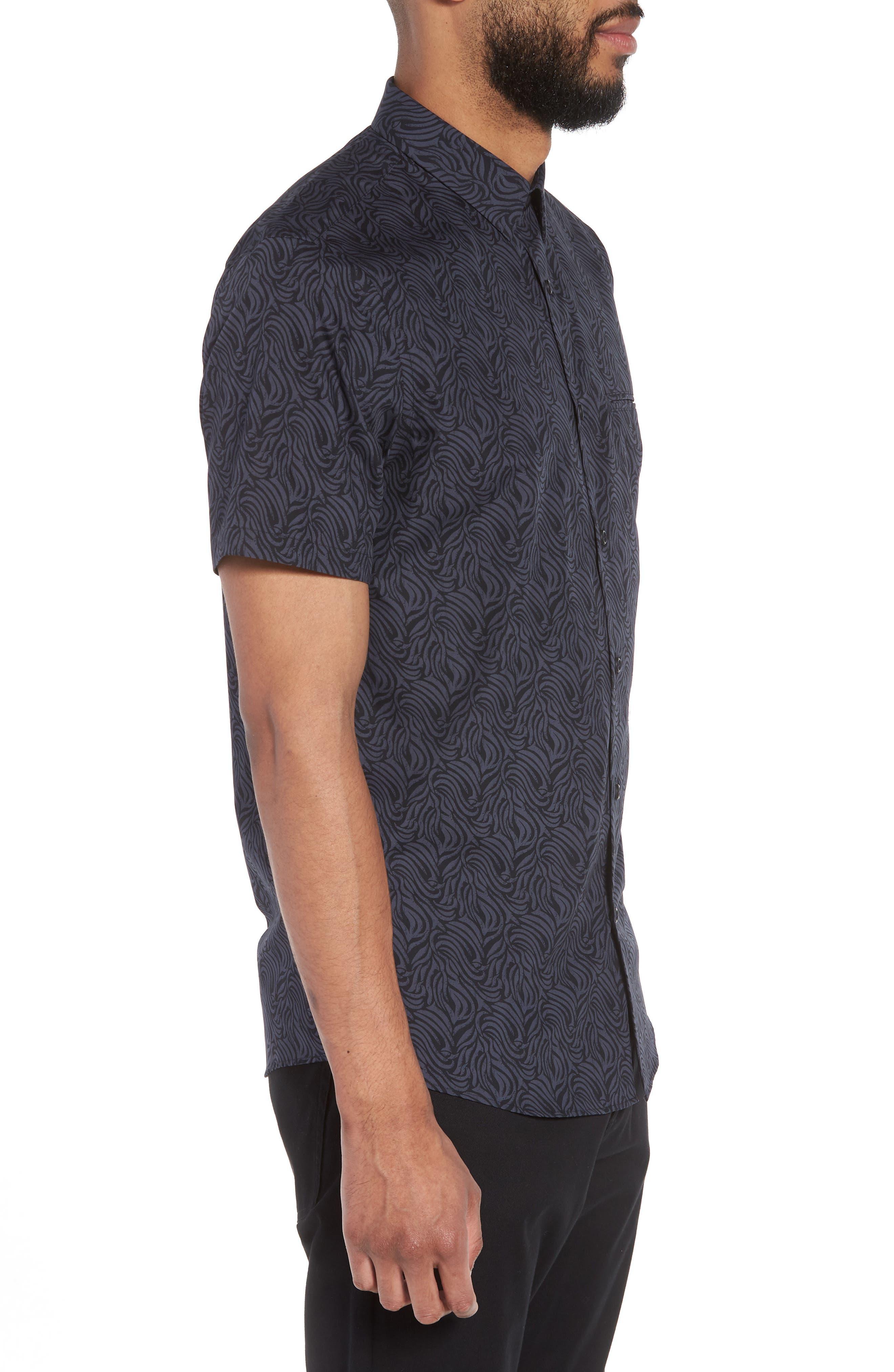 Trim Fit Print Welt Pocket Sport Shirt,                             Alternate thumbnail 3, color,                             NAVY BLUE BLACK BRUSH STROKE