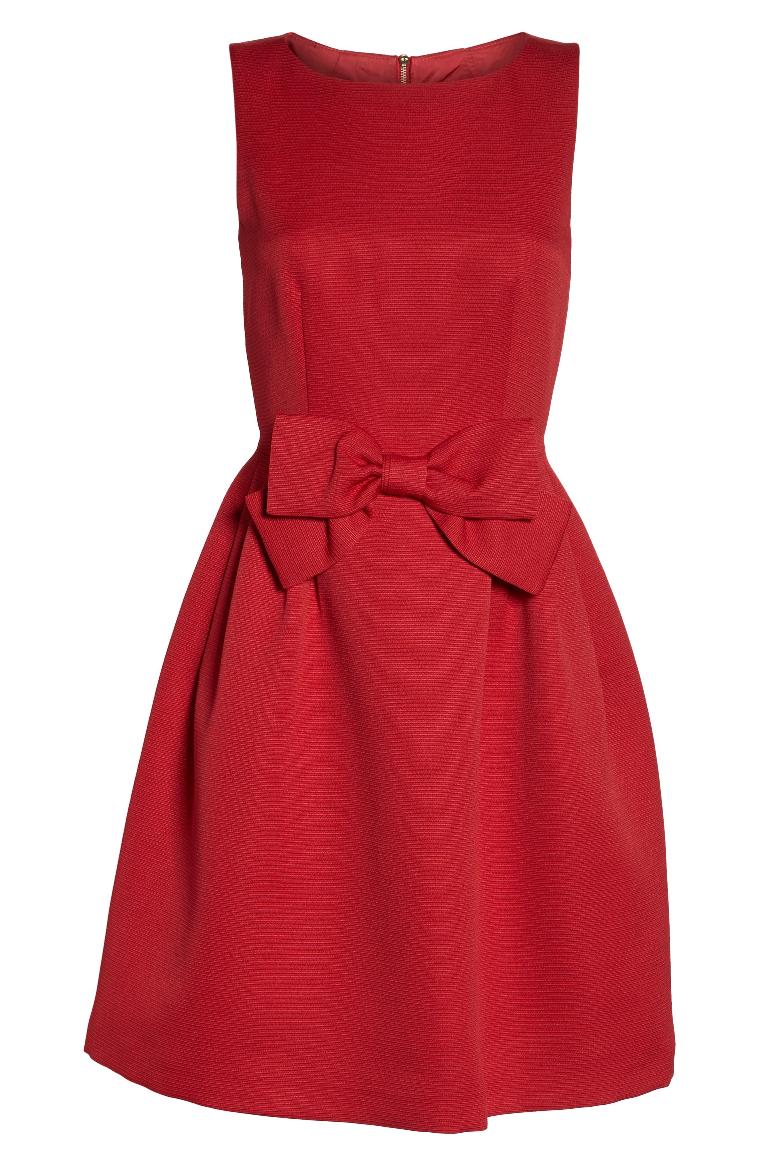 Bow Front A-Line Dress,                             Alternate thumbnail 8, color,