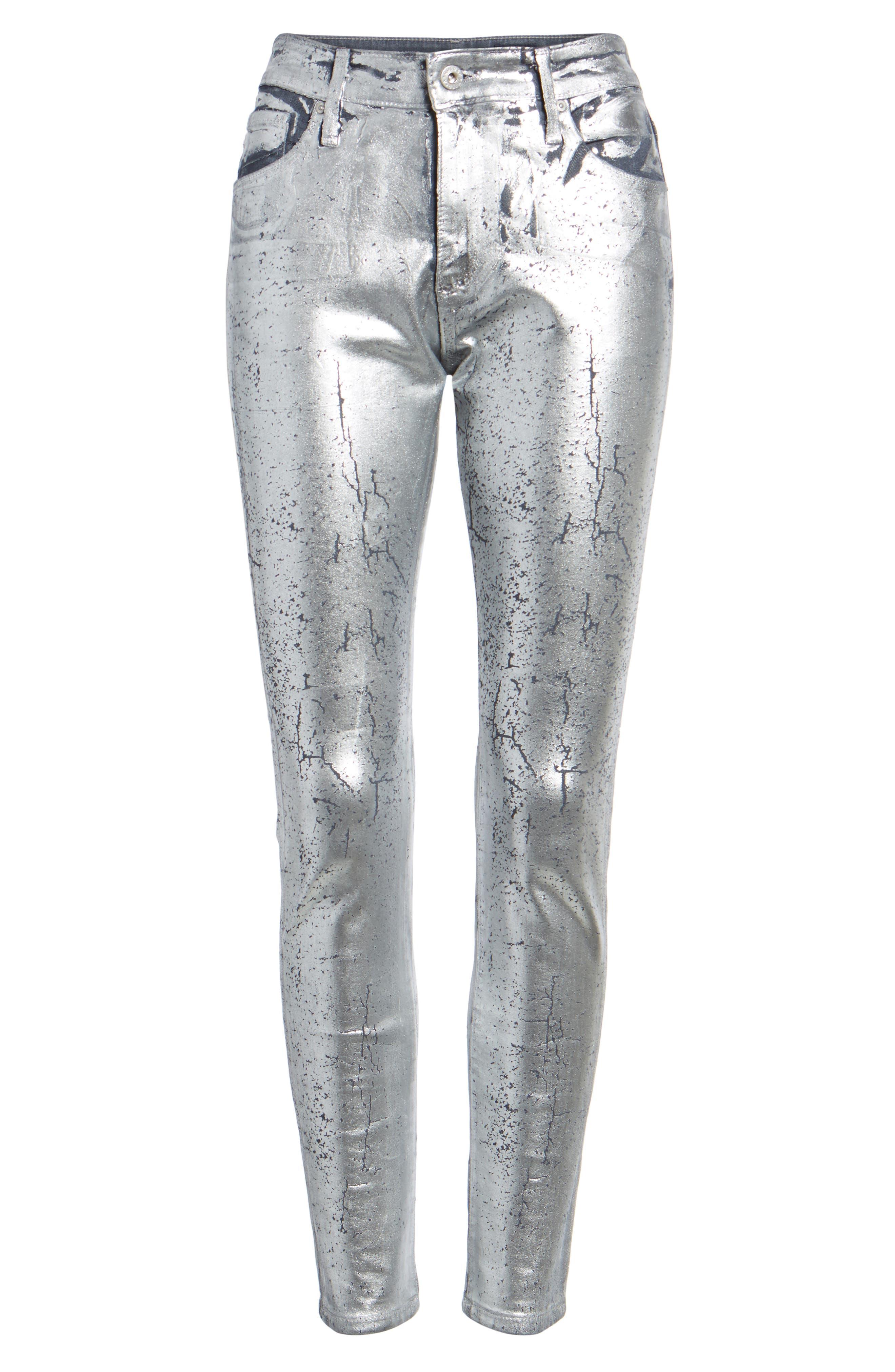 AG,                             Farrah High Waist Ankle Skinny Jeans,                             Alternate thumbnail 7, color,                             ICED SILVER