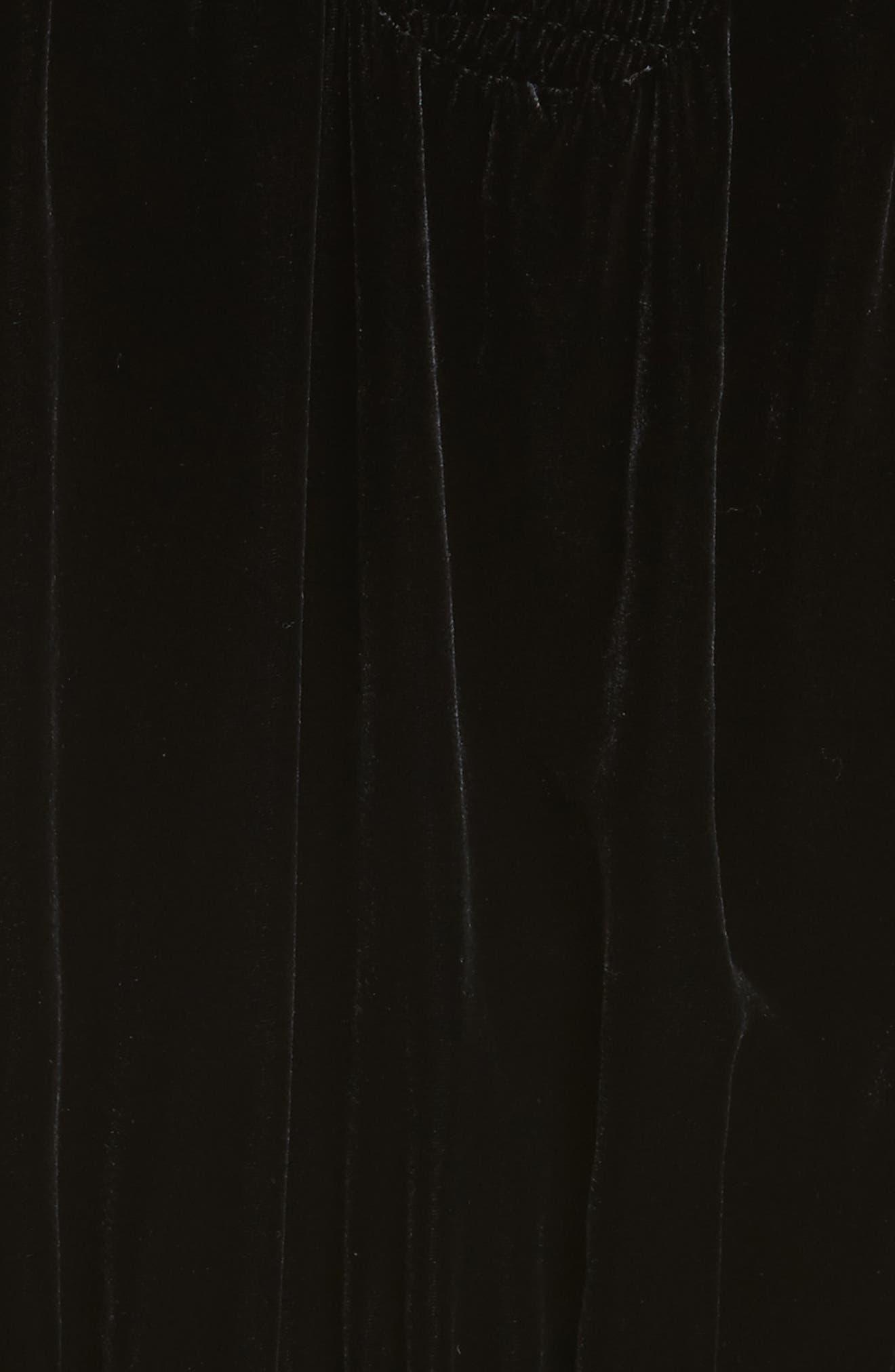 Smocked Velvet Midi Dress,                             Alternate thumbnail 5, color,