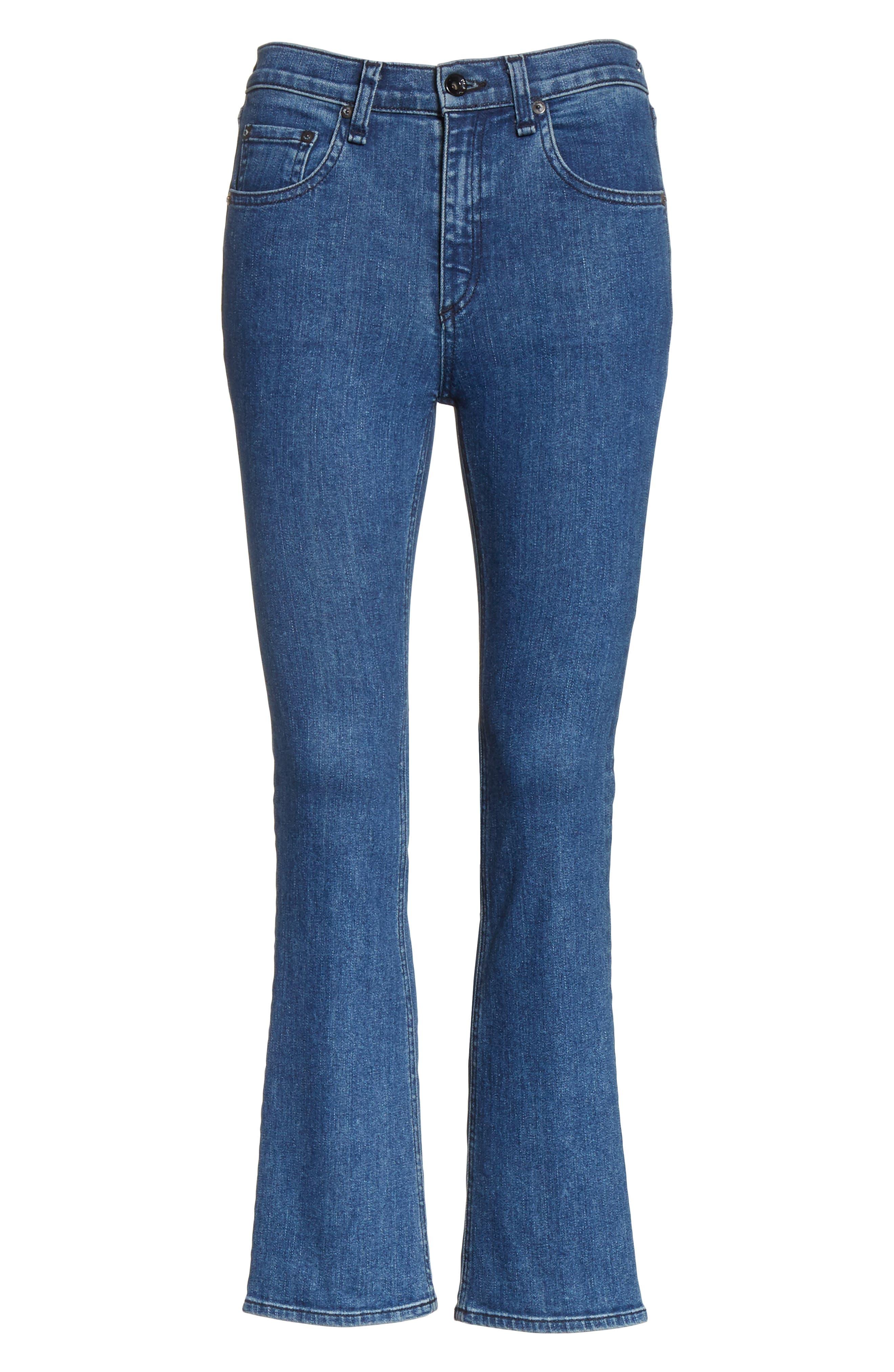 Hana High Waist Crop Bootcut Jeans,                             Alternate thumbnail 6, color,                             420