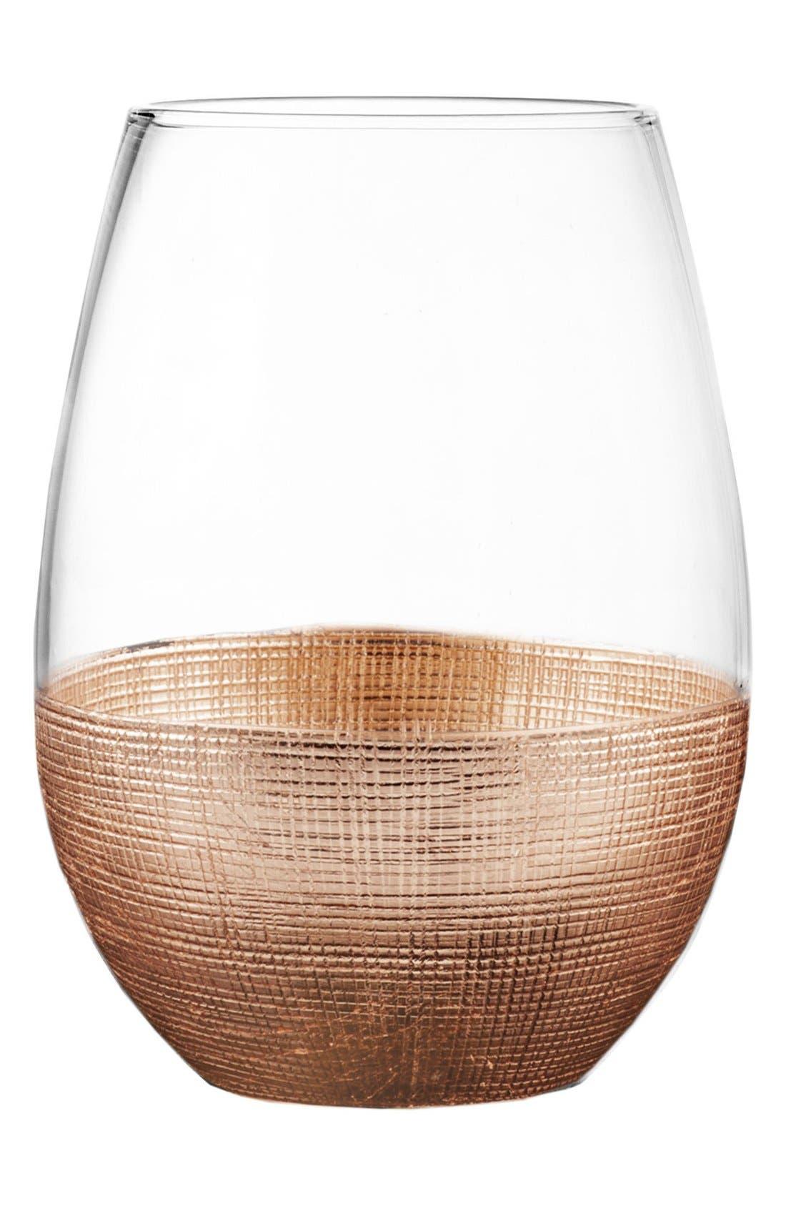 Linen Set of 4 Stemless Wine Glasses,                         Main,                         color, COPPER
