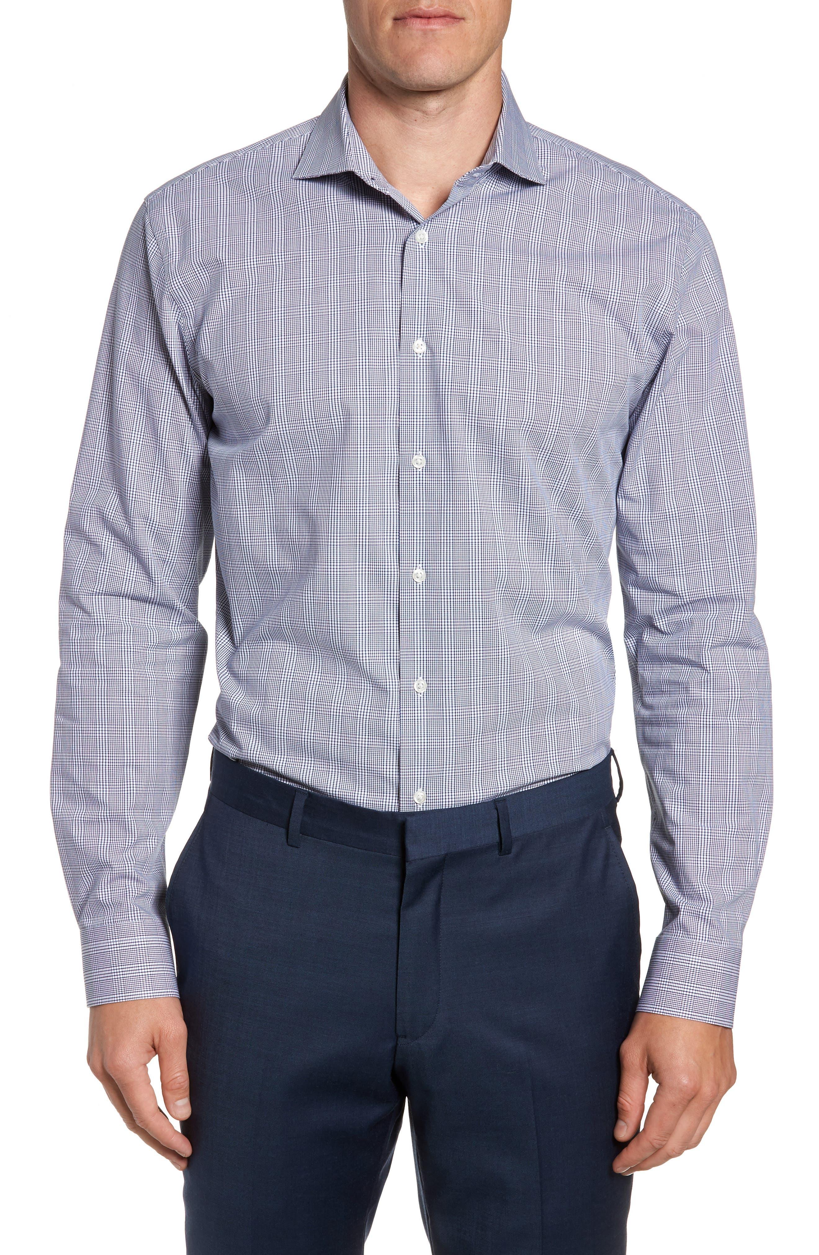 Tech-Smart Trim Fit Stretch Plaid Dress Shirt,                             Main thumbnail 1, color,                             401