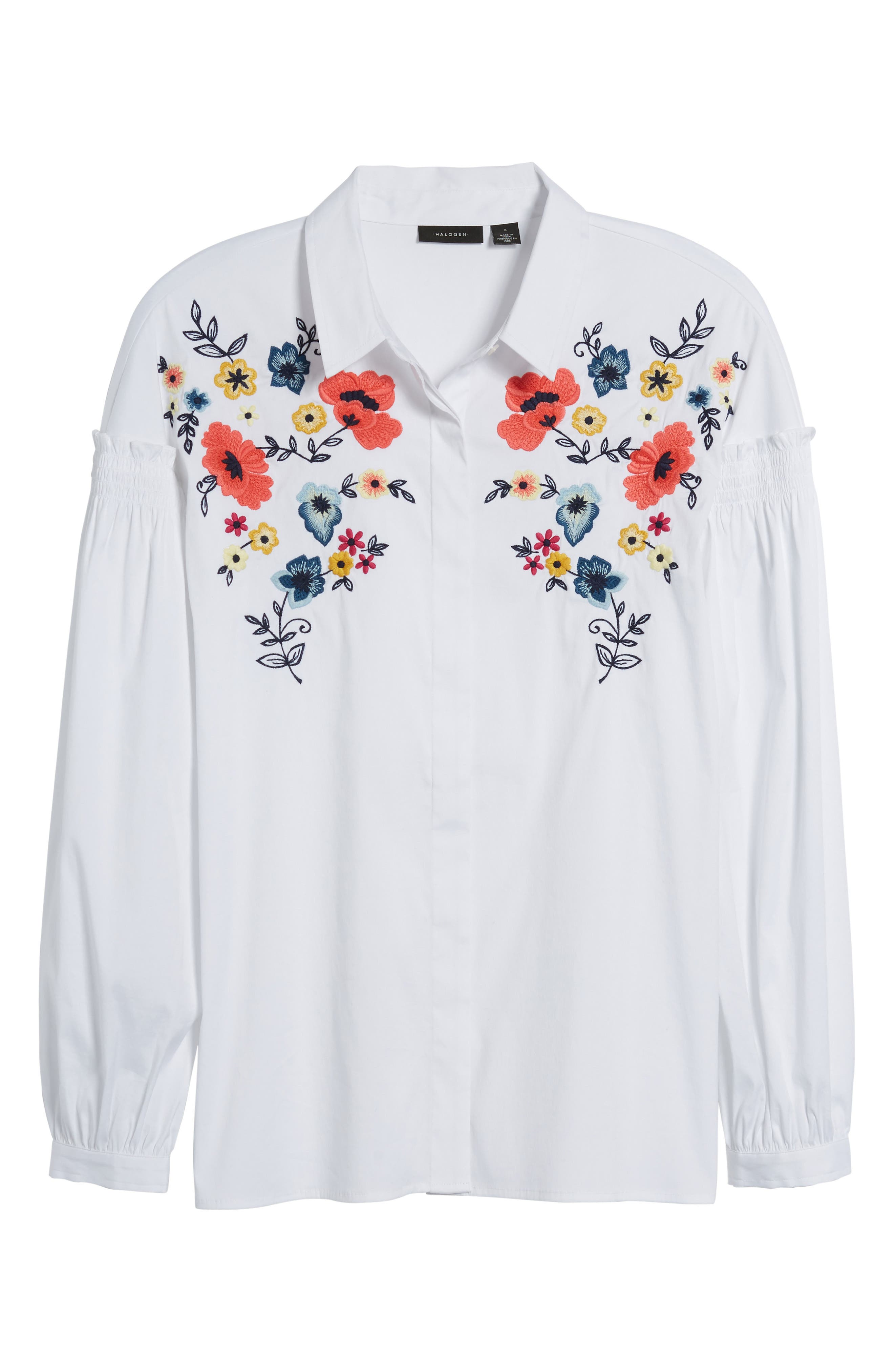 Embroidered Button Down Shirt,                             Alternate thumbnail 6, color,                             100