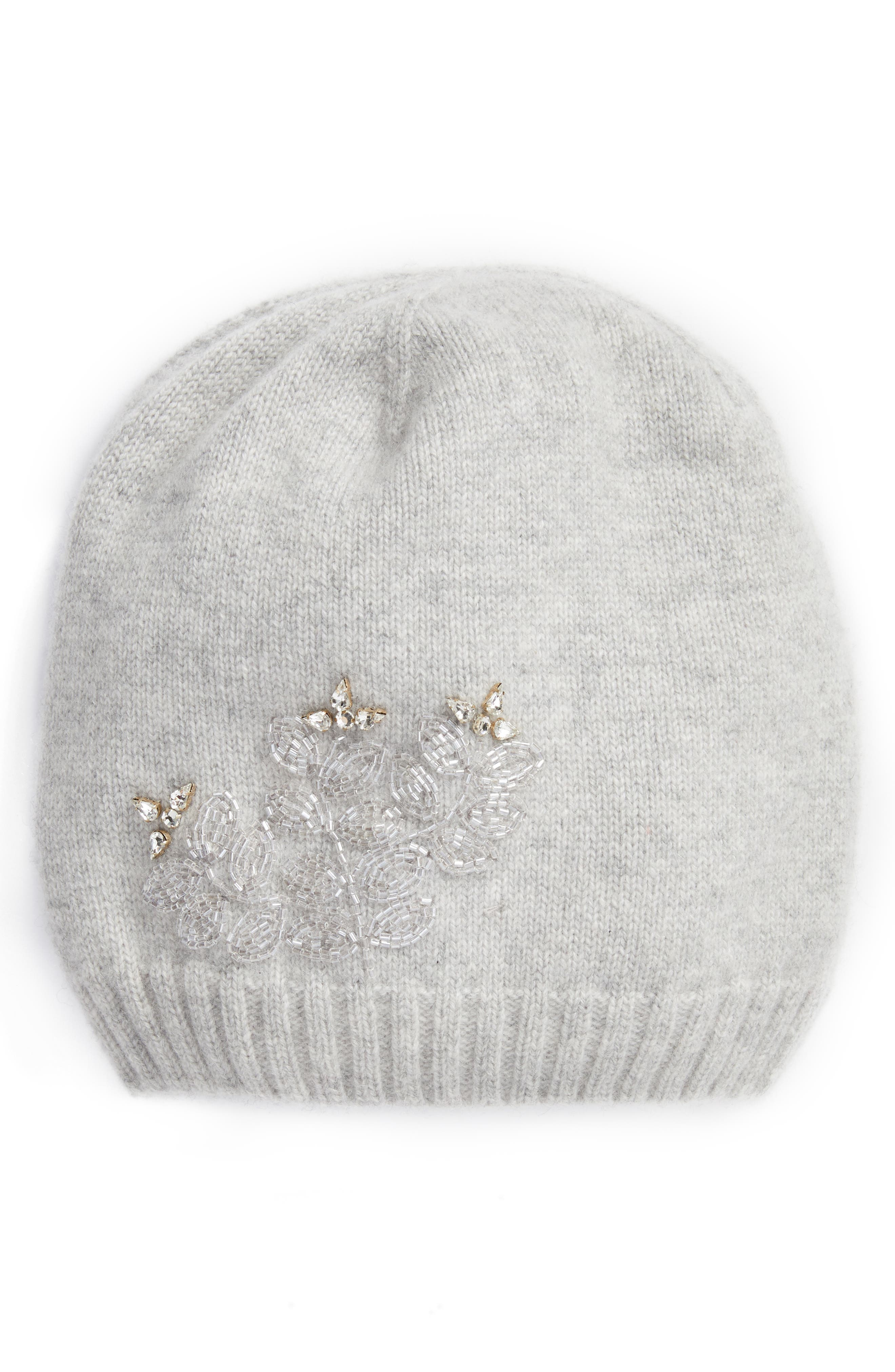 Slouchy Embellished Cashmere Beanie,                             Main thumbnail 1, color,                             033