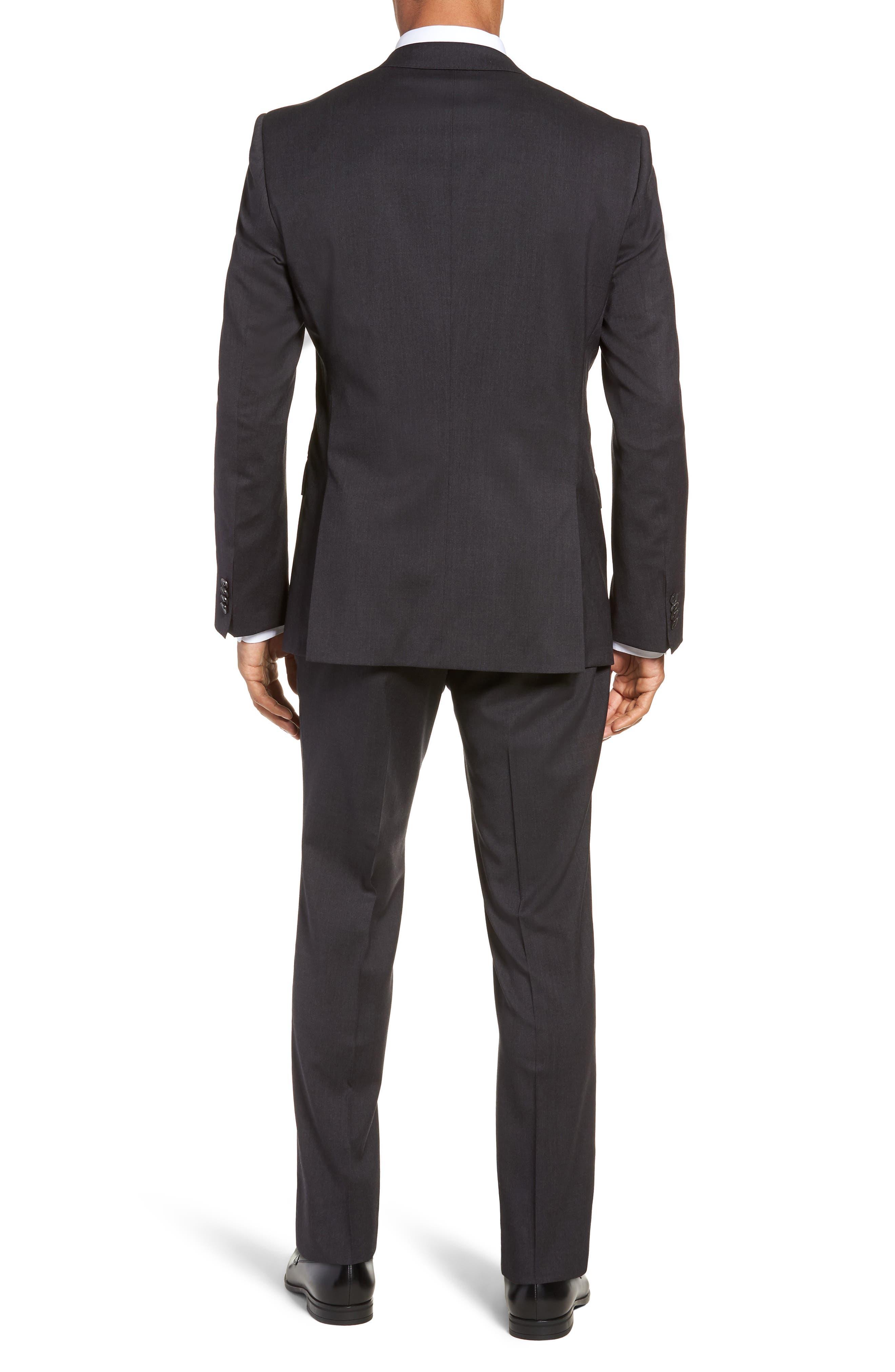 Huge/Genius Trim Fit Solid Wool Suit,                             Alternate thumbnail 2, color,                             DARK GREY
