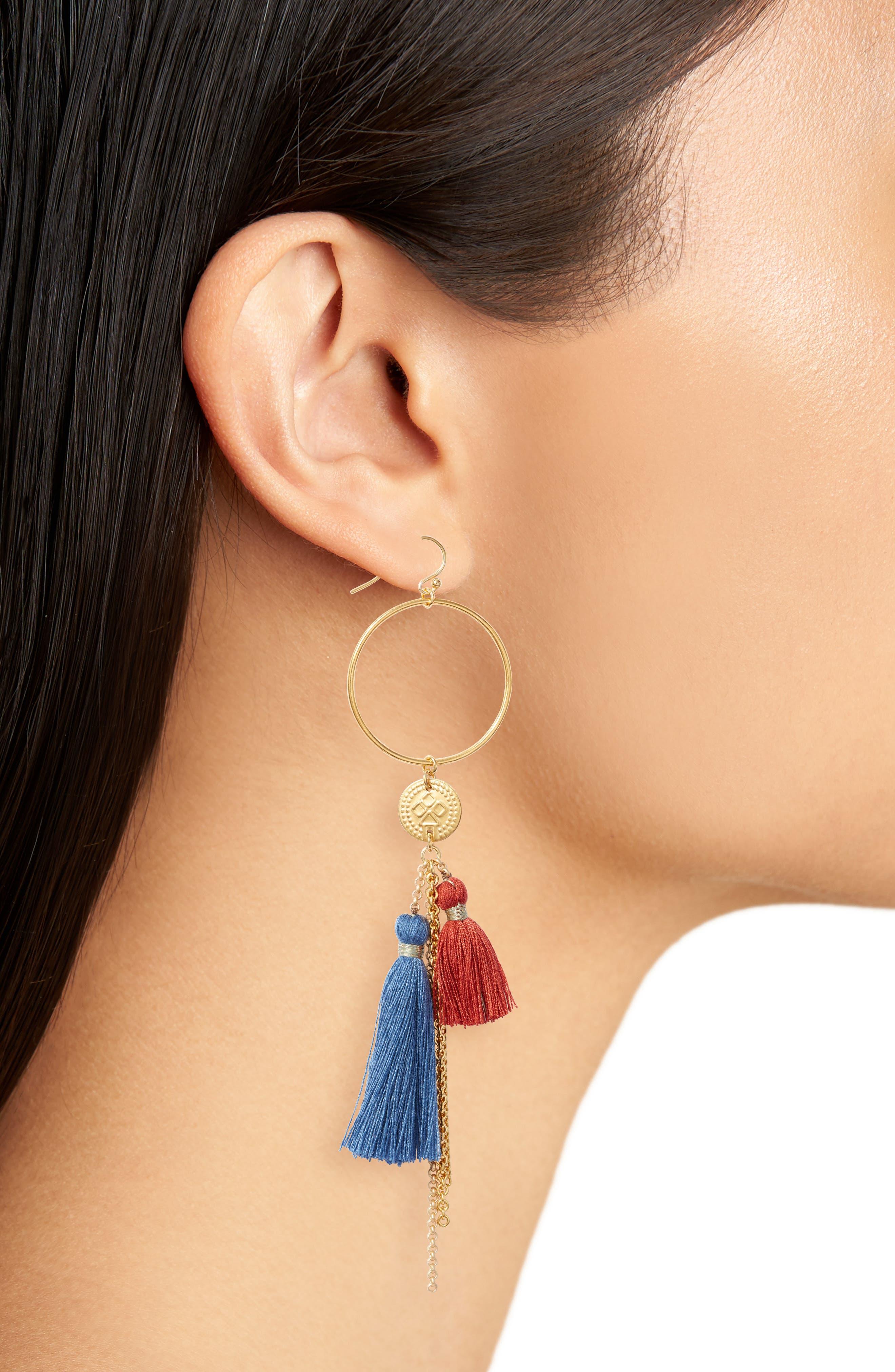 Hoop & Tassel Earrings,                             Alternate thumbnail 2, color,                             BLUE MIX