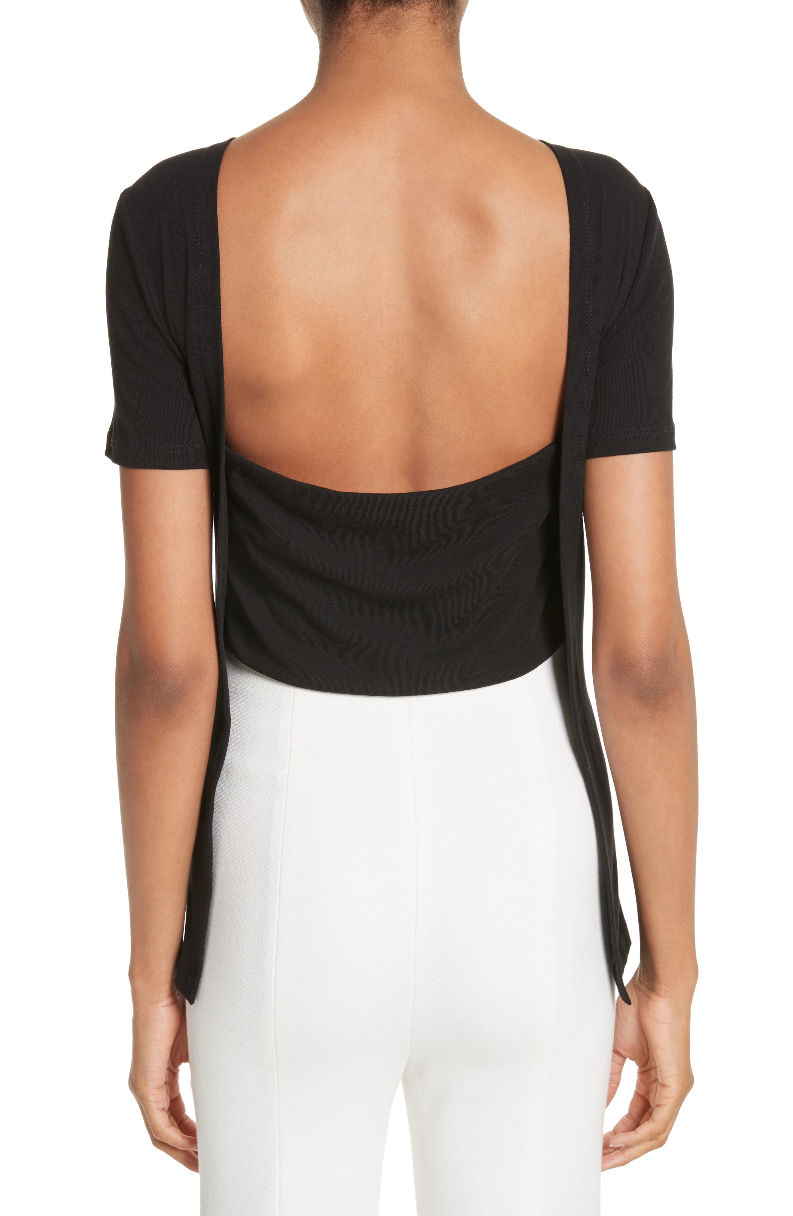 Cotton Jersey Open Back Tee,                             Alternate thumbnail 2, color,                             001