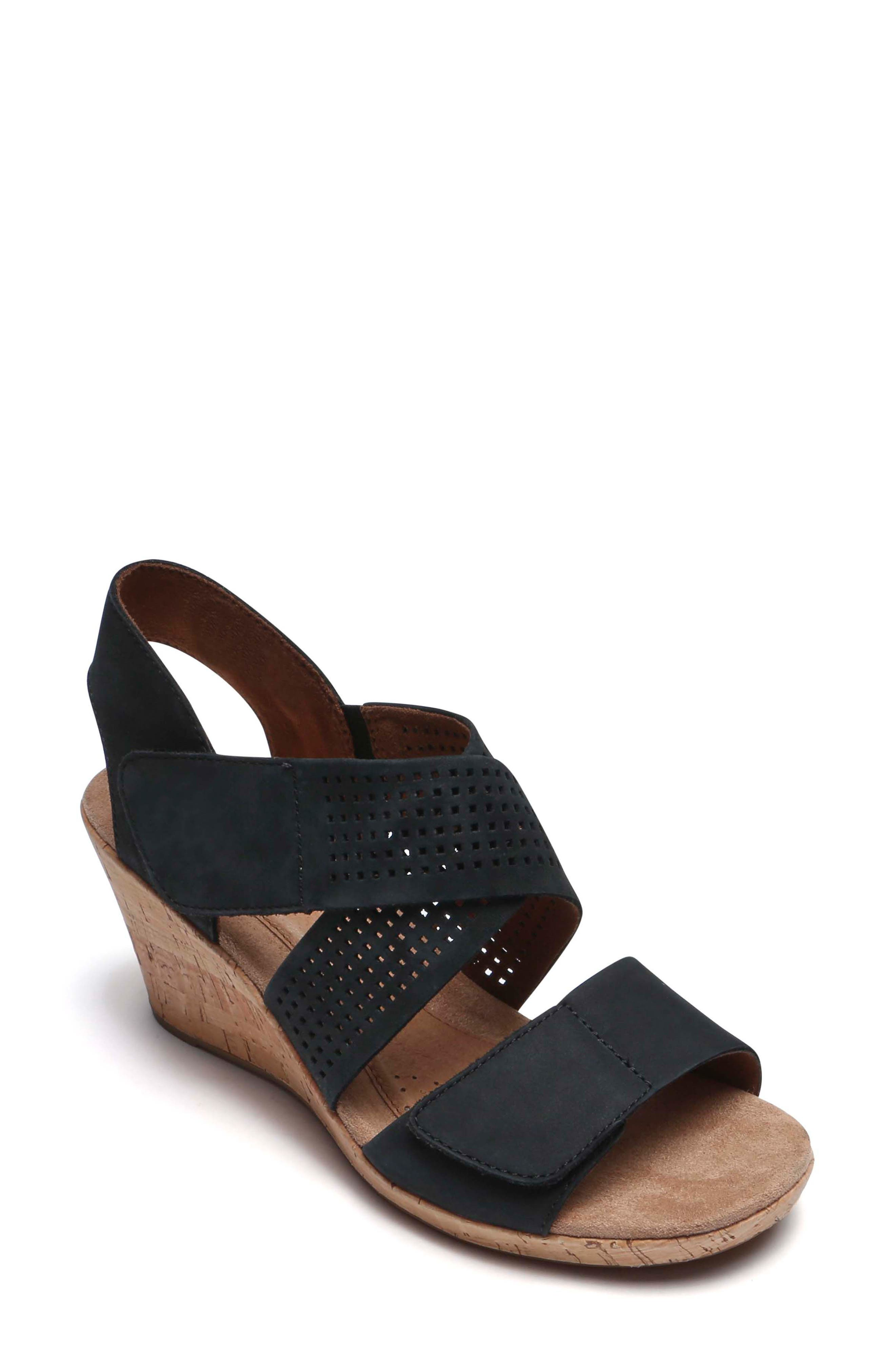 Janna Cross Strap Wedge Sandal,                             Main thumbnail 1, color,                             001