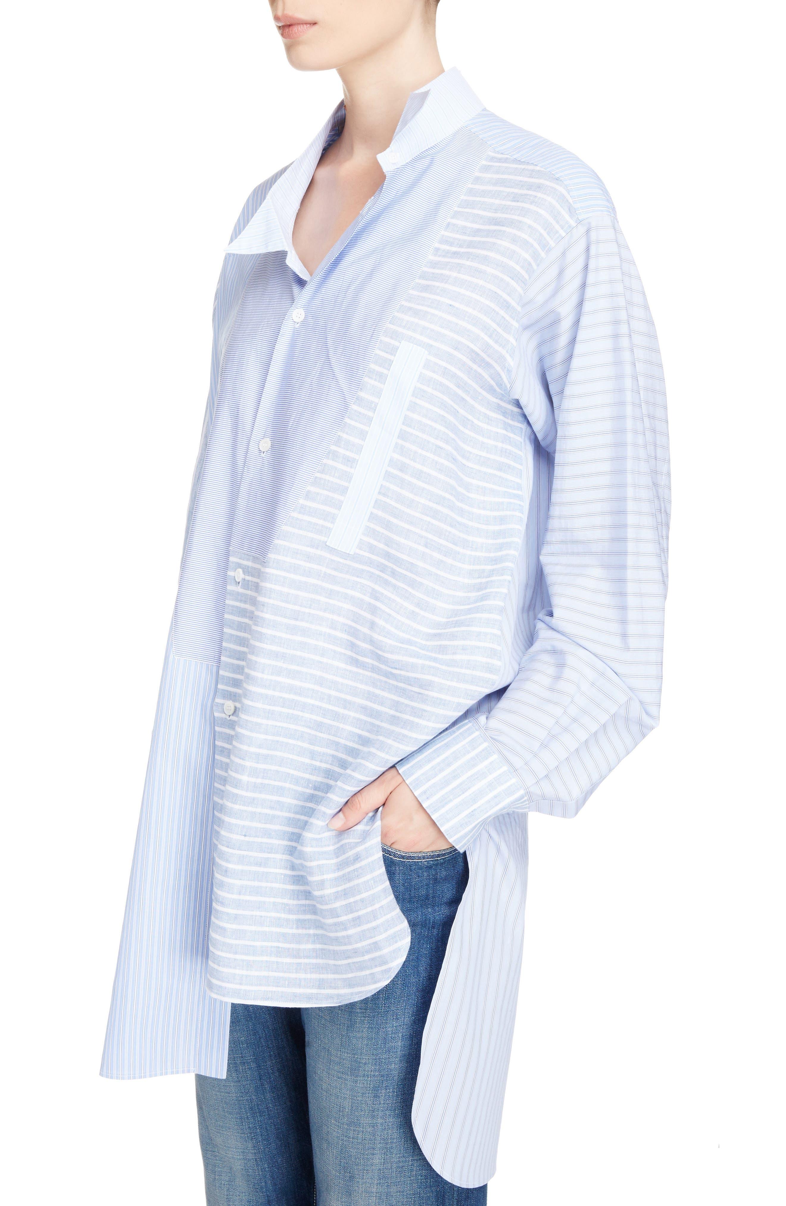 Patchwork Cotton & Linen Shirt,                             Alternate thumbnail 4, color,                             469
