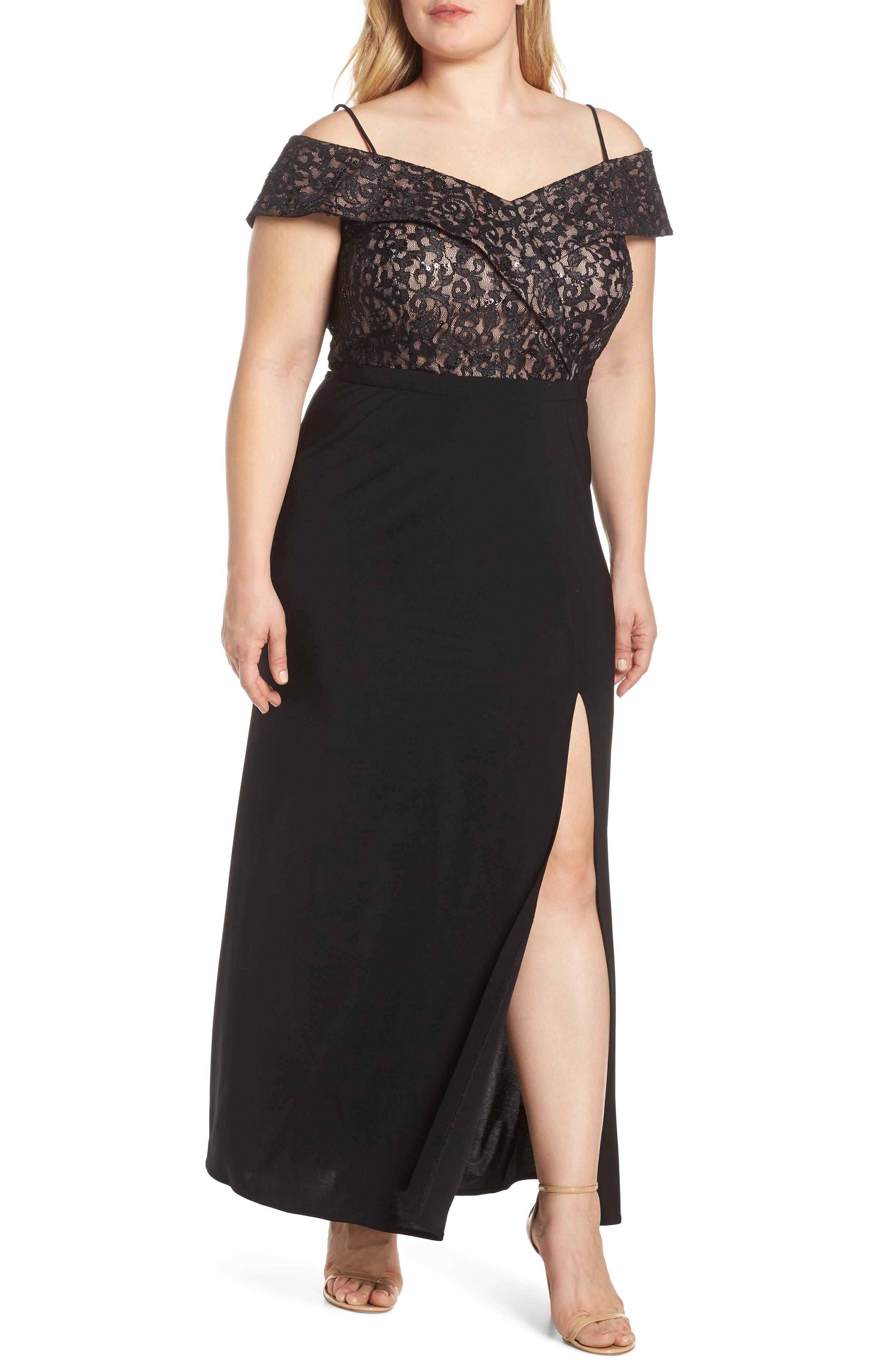 Plus Size Morgan & Co. Cold Shoulder Lace Bodice Evening Dress, Black