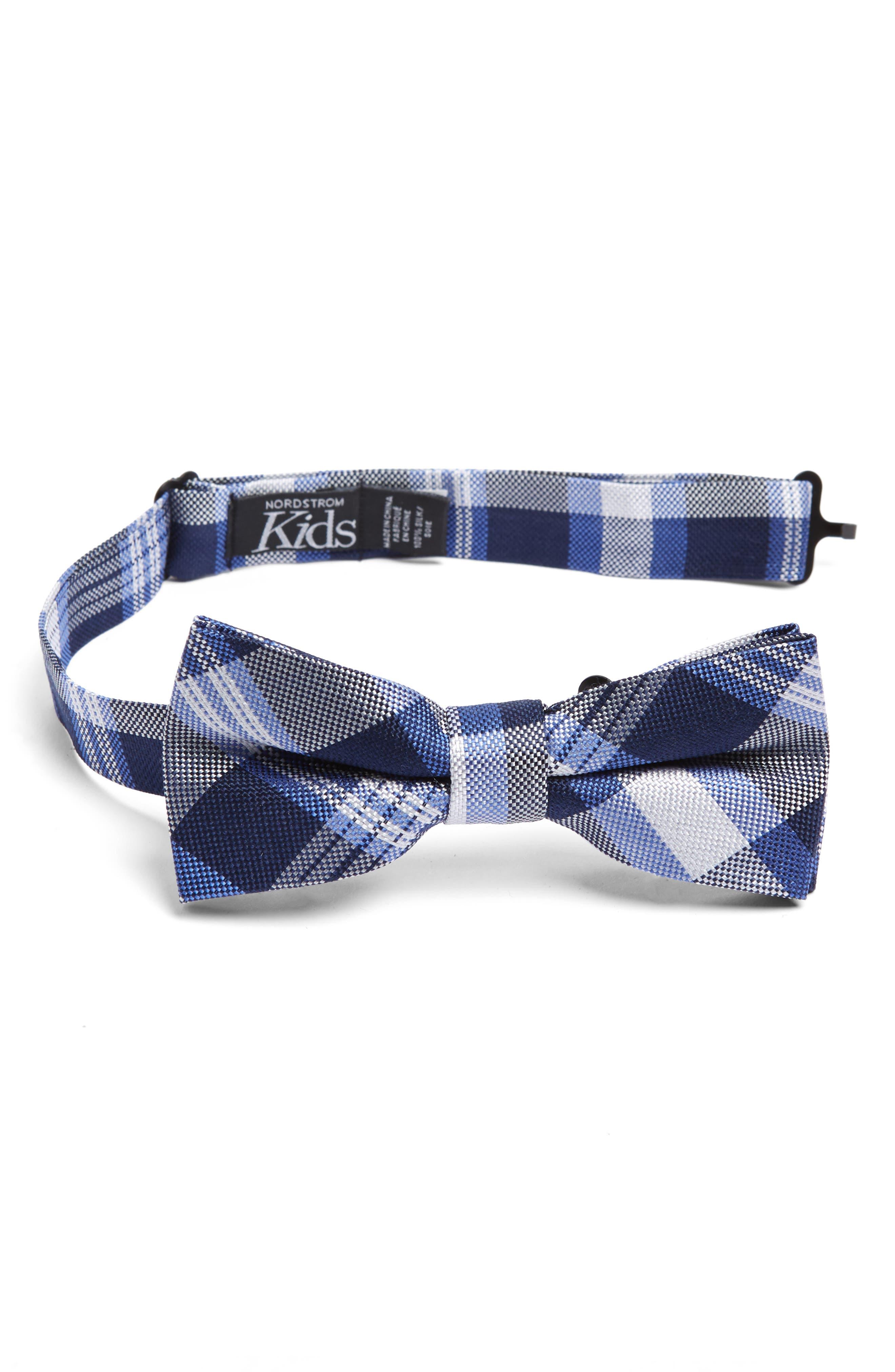 NORDSTROM Plaid Silk Bow Tie, Main, color, NAVY