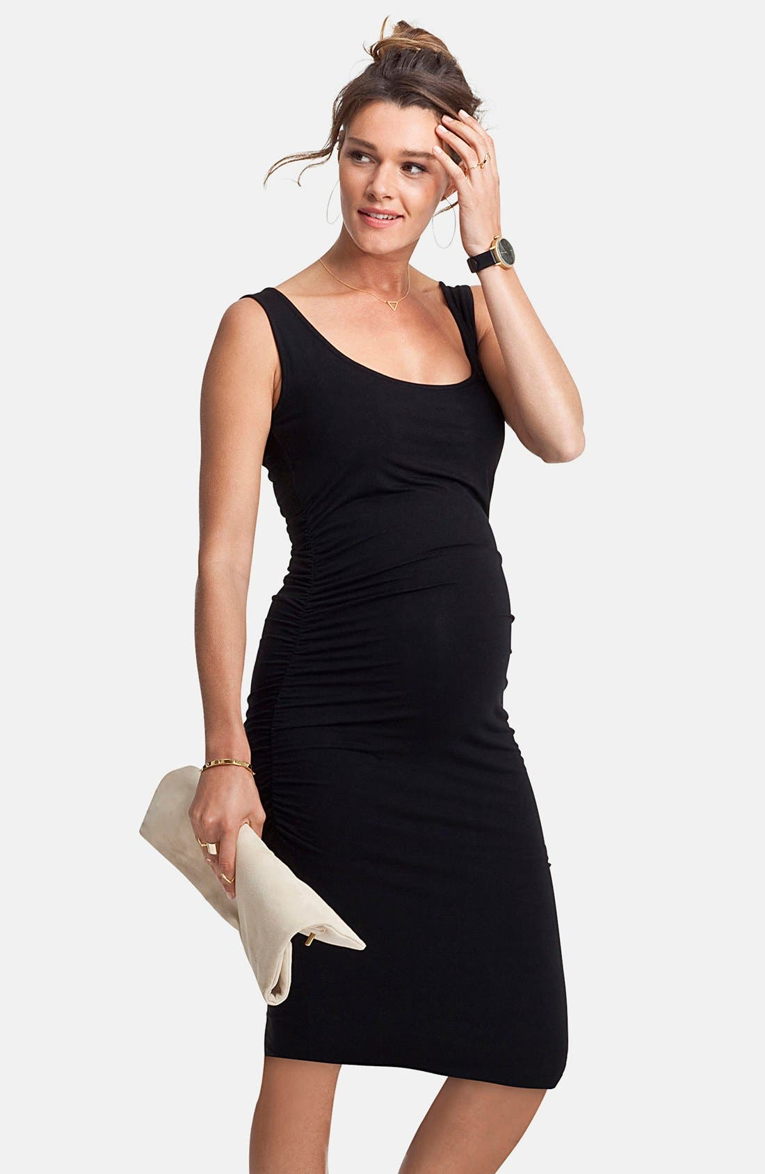 'Ellis' Side Ruched Maternity Tank Dress,                         Main,                         color, CAVIAR BLACK