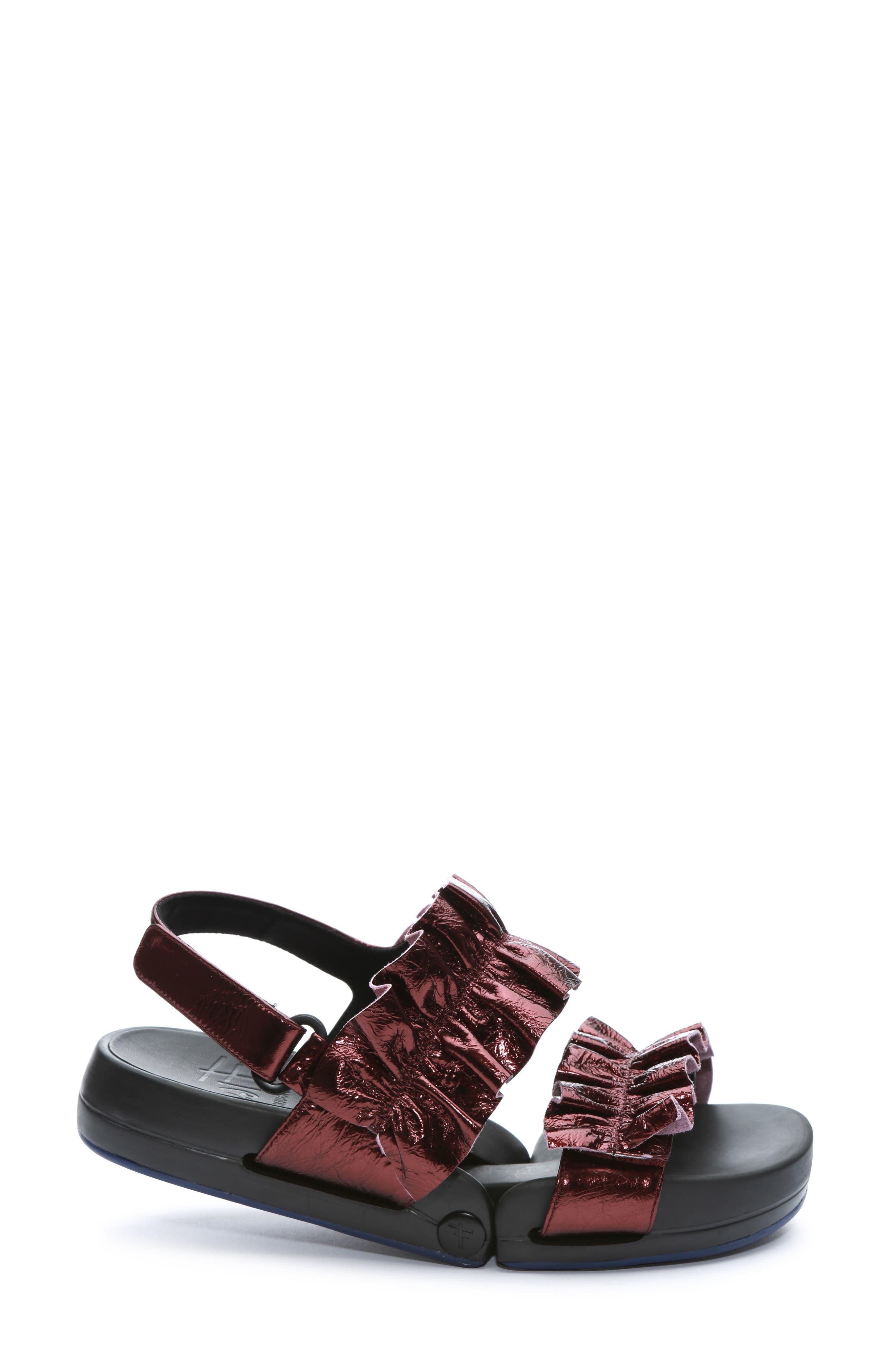 Figulous Ruffle Sandal,                             Alternate thumbnail 3, color,                             BORDEAUX METALLIC LEATHER