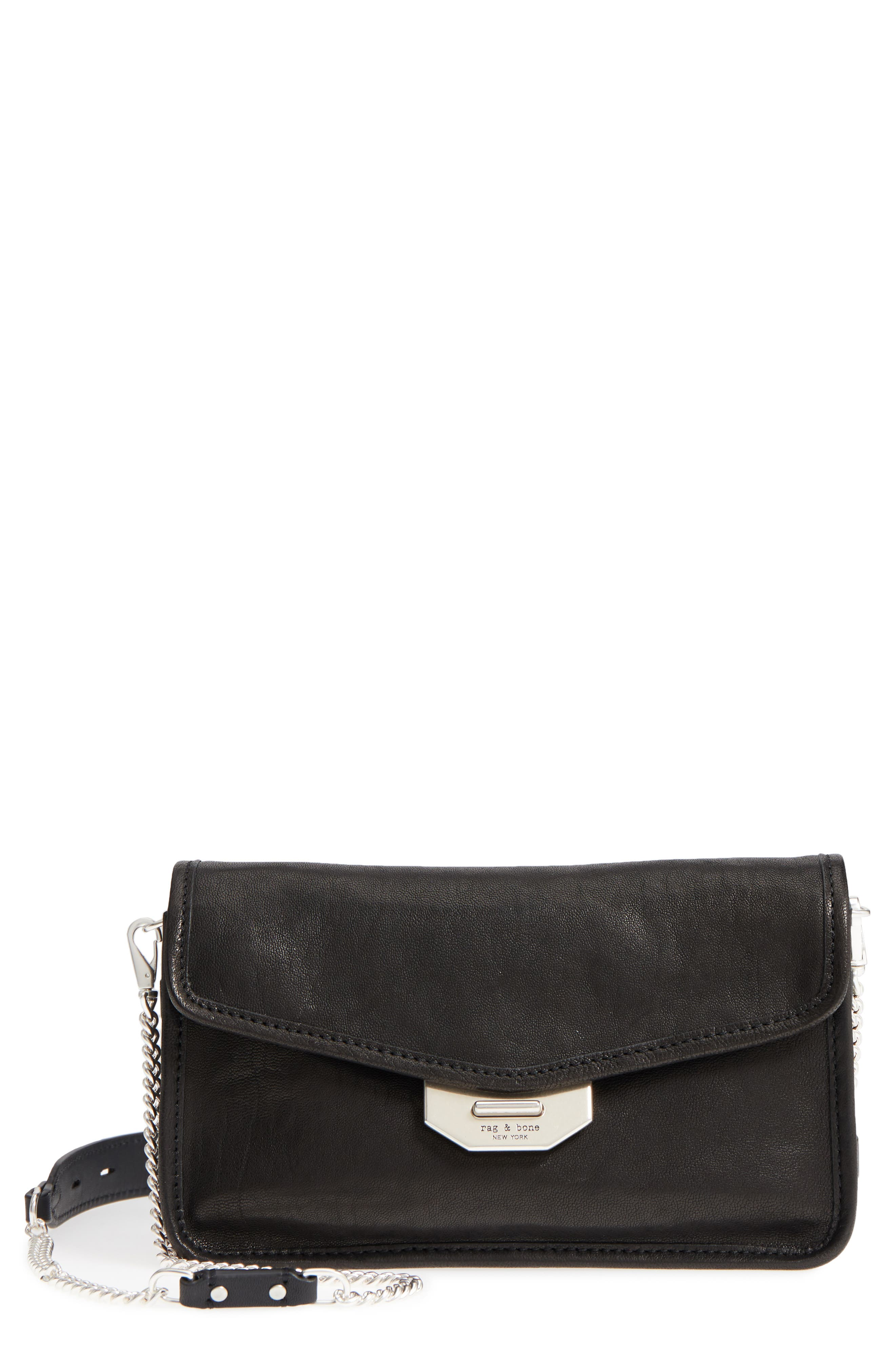 Leather Field Clutch,                         Main,                         color, 001