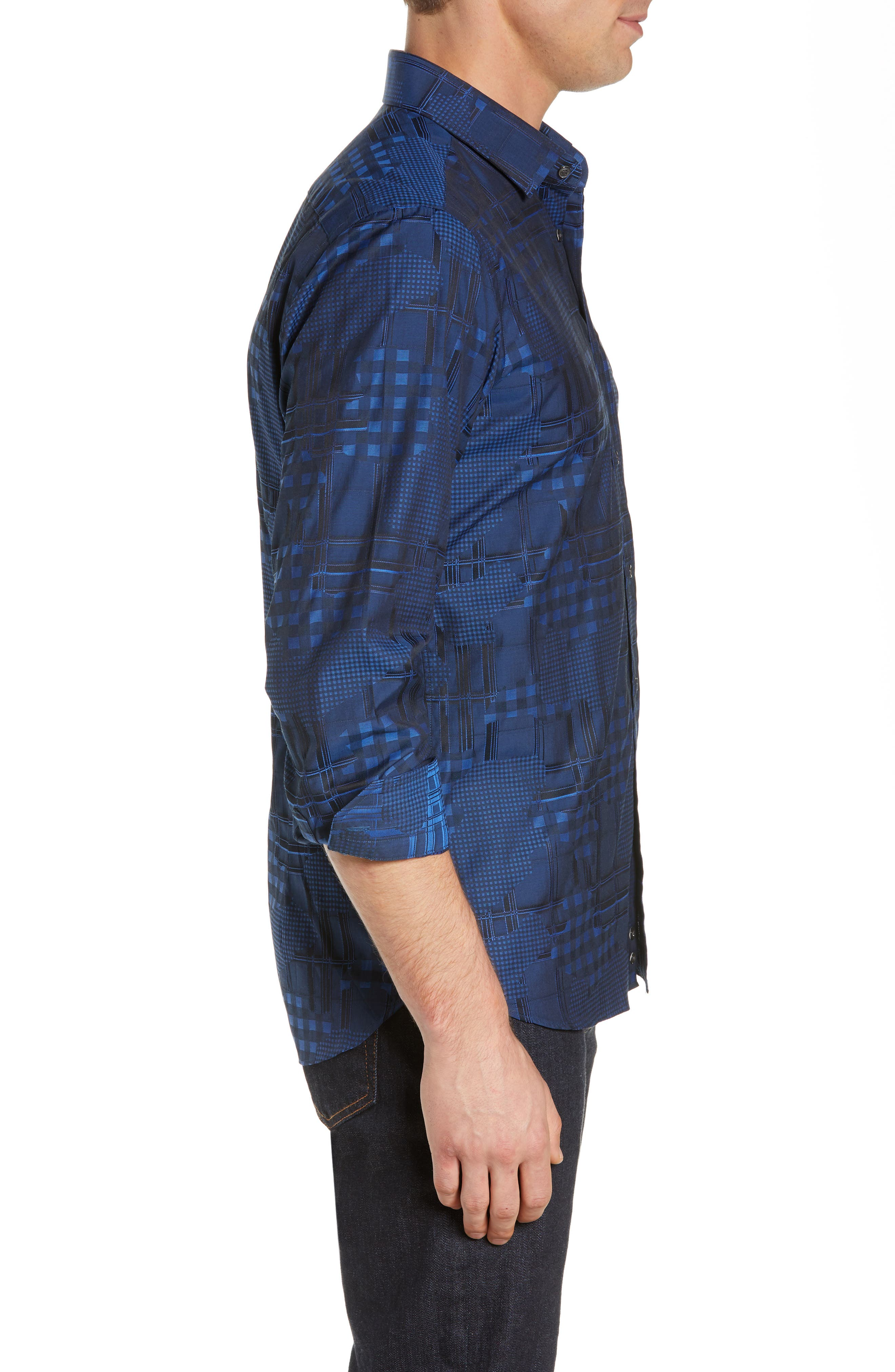 Luxor Tailored Fit Pattern Mix Sport Shirt,                             Alternate thumbnail 4, color,                             NAVY