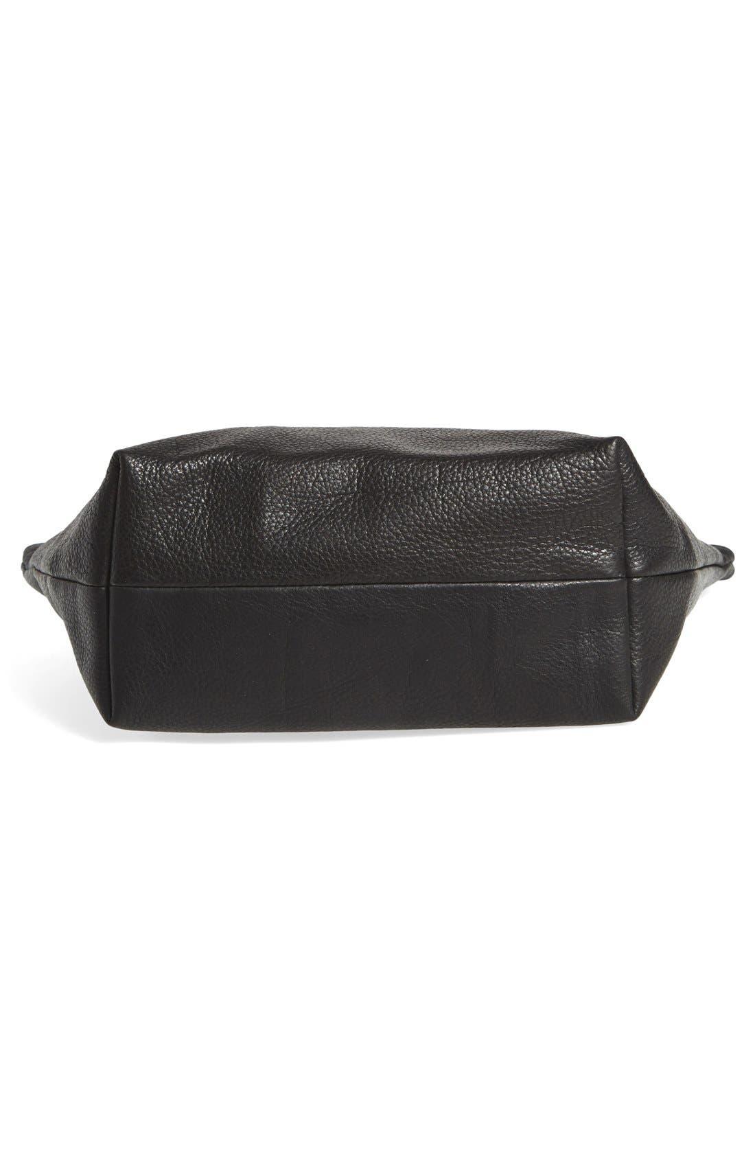 Large Leather Zip Pouch,                             Alternate thumbnail 5, color,                             001