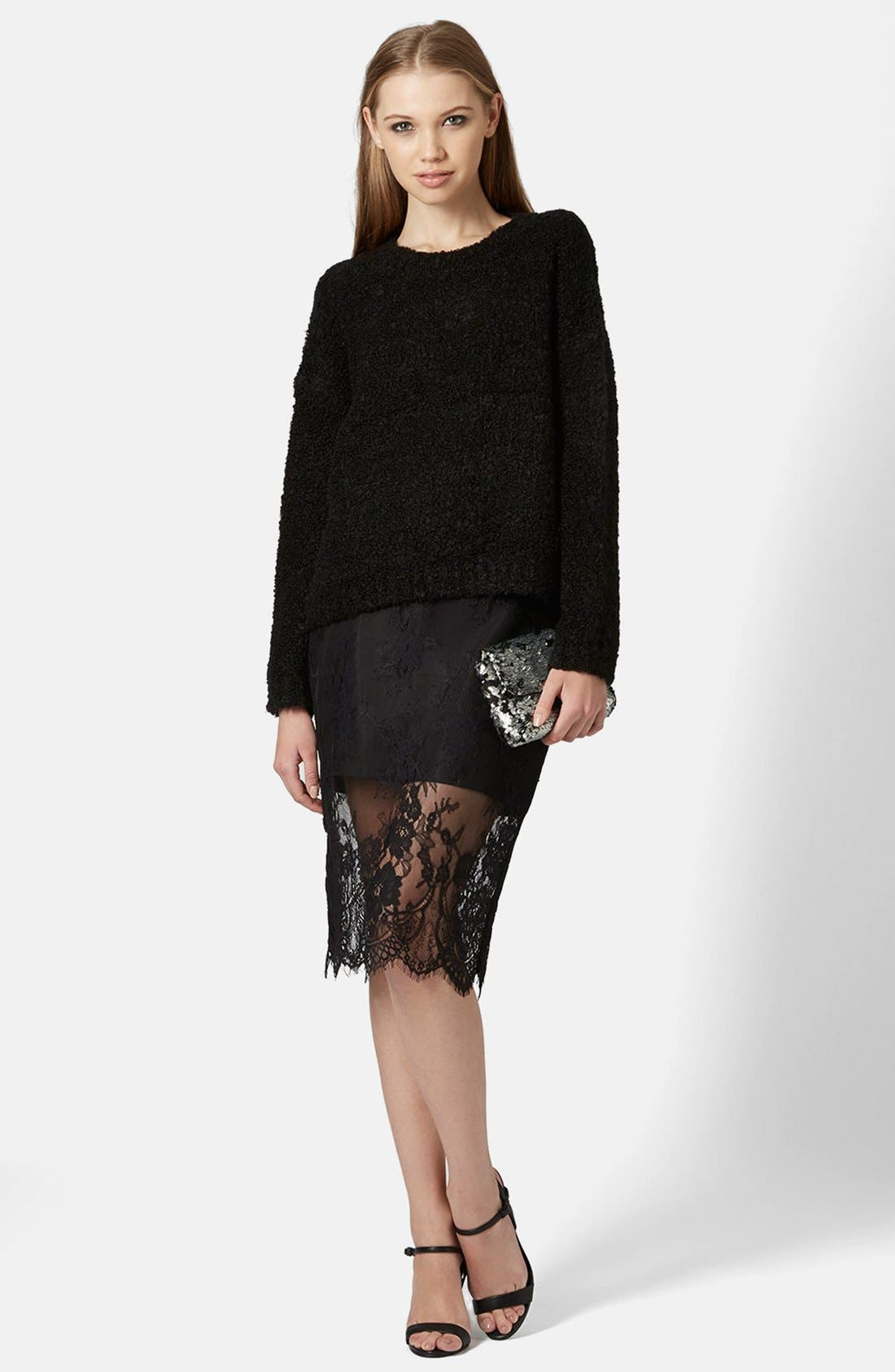 TOPSHOP,                             Lace Overlay Pencil Skirt,                             Alternate thumbnail 4, color,                             001