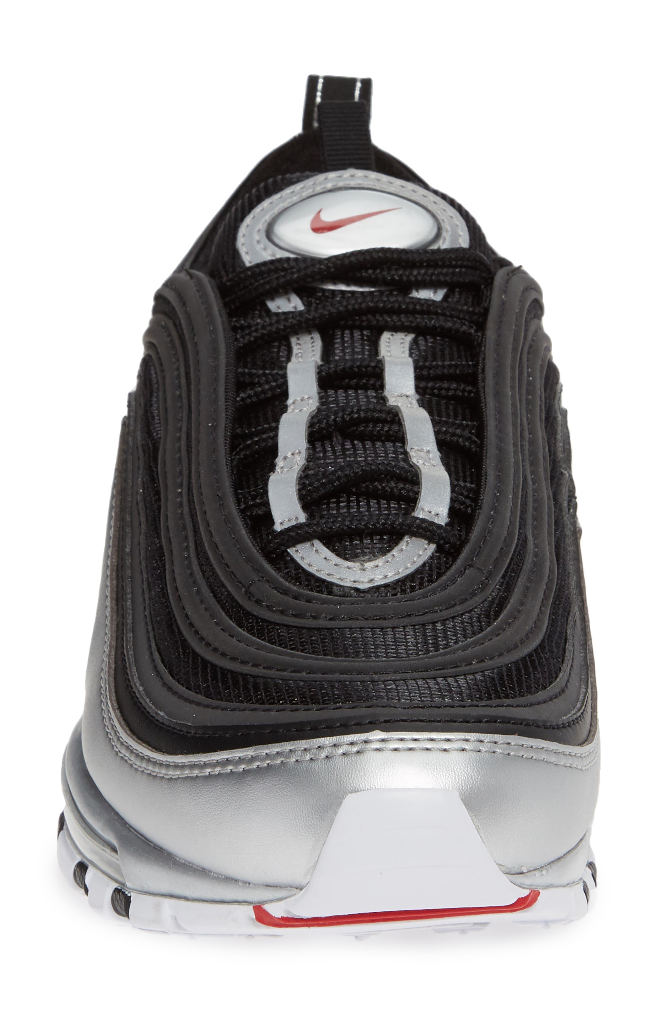 Air Max 97 QS Sneaker,                             Alternate thumbnail 4, color,                             BLACK/ VARSITY RED/ SILVER