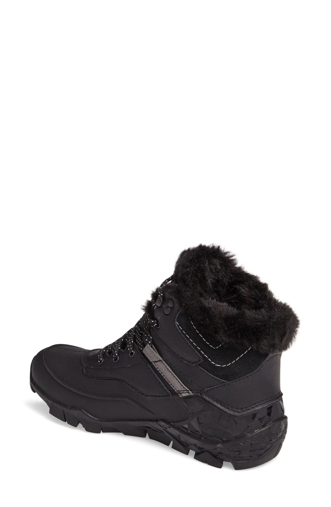 Aurora 6 Waterproof Faux Fur Lined Boot,                             Alternate thumbnail 3, color,                             BLACK LEATHER