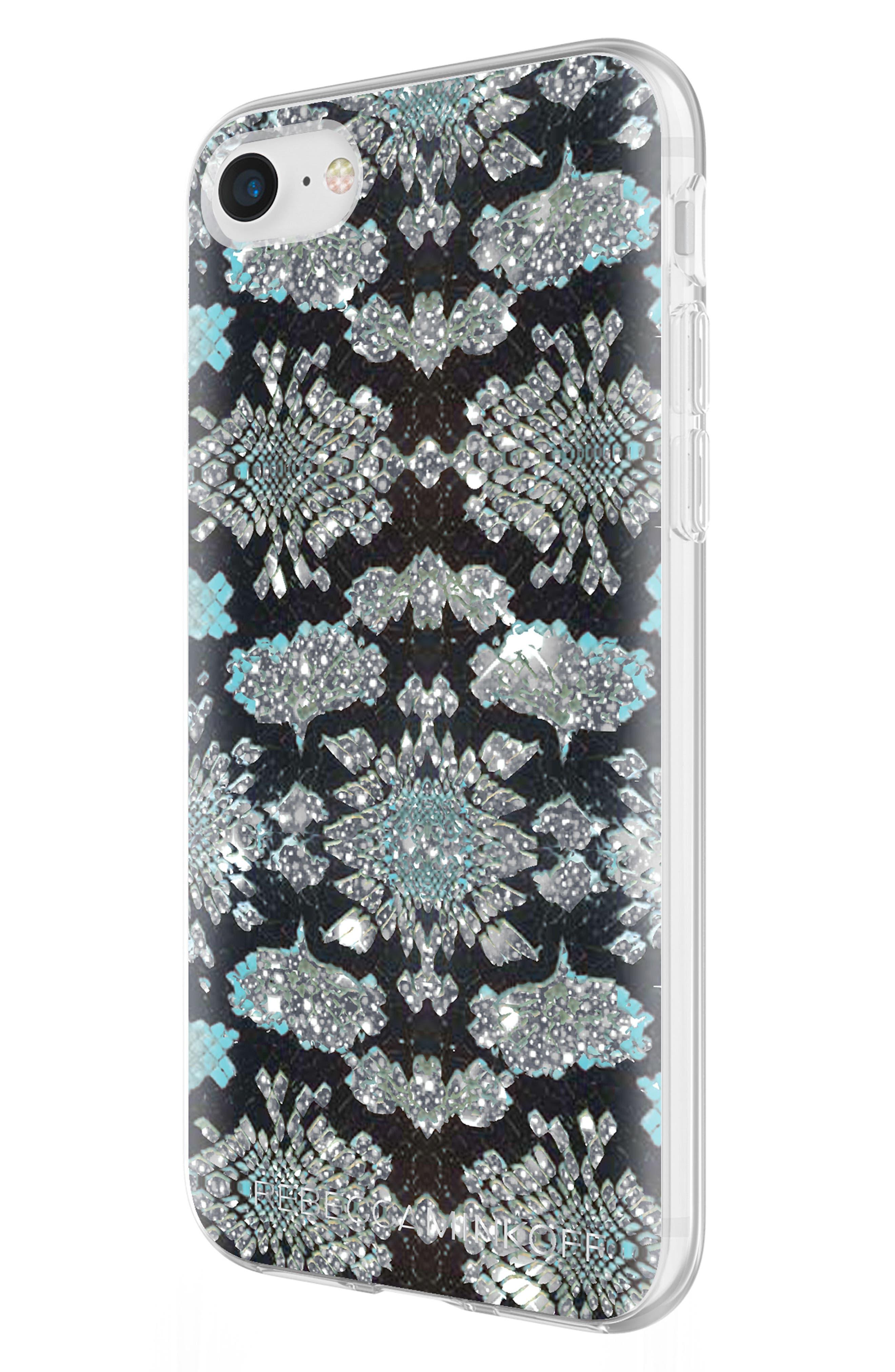 Glitter Snakeskin Print iPhone 7/8 & 7/8 Plus Case,                             Alternate thumbnail 6, color,