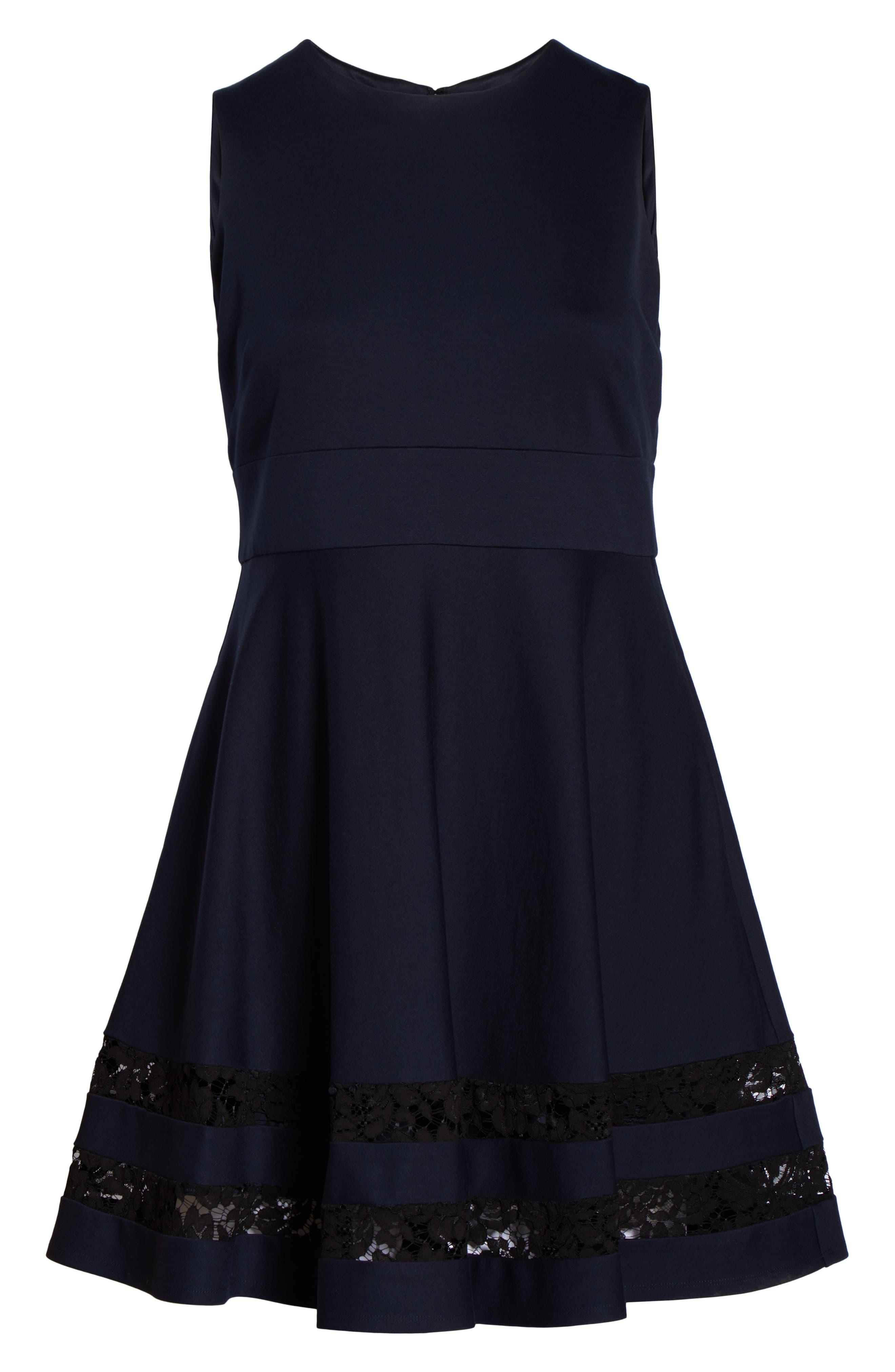 Lace Trim Fit & Flare Dress,                             Alternate thumbnail 7, color,                             NAVY