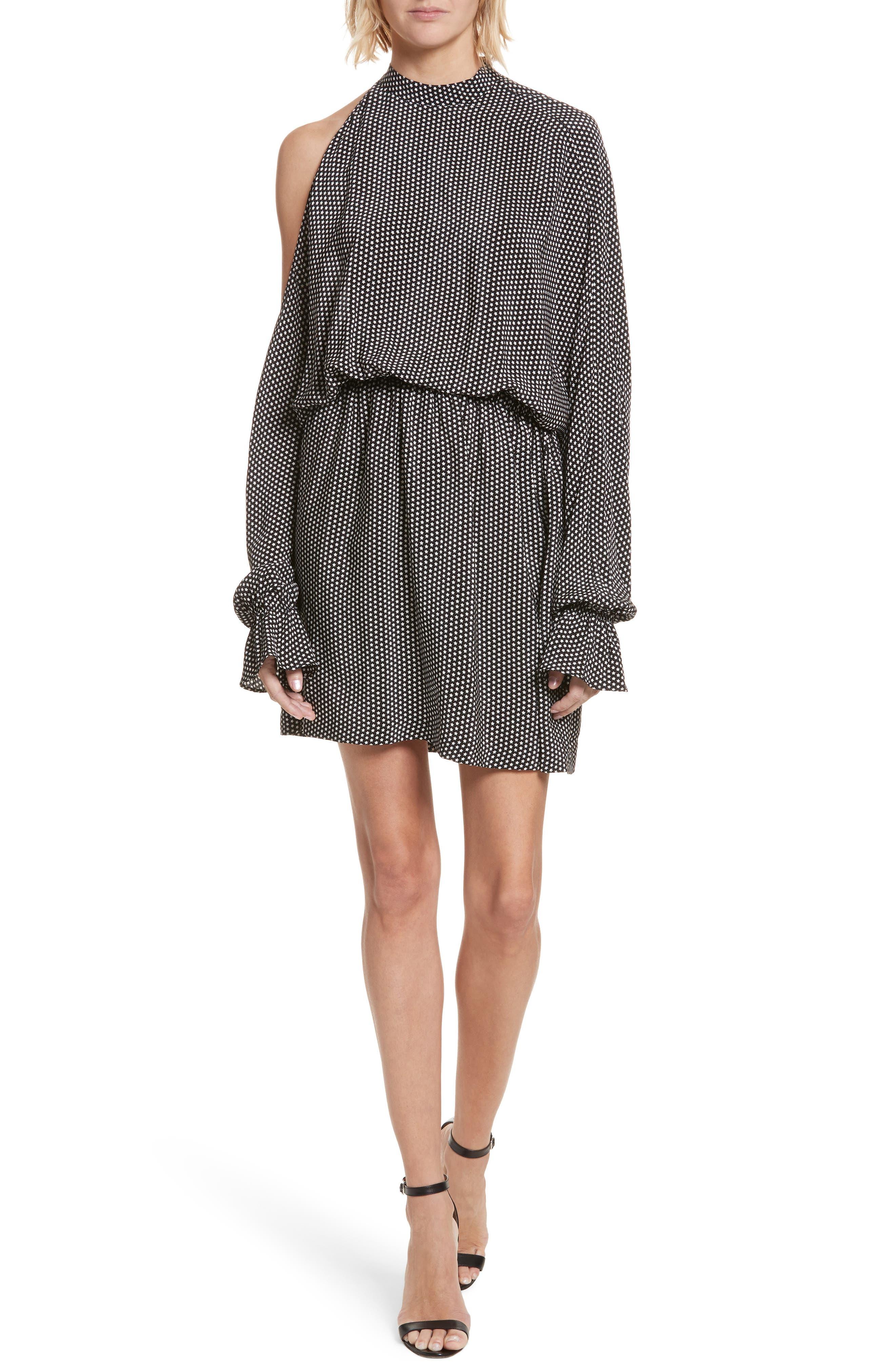 Star Print Cold Shoulder Silk Dress,                         Main,                         color, 001