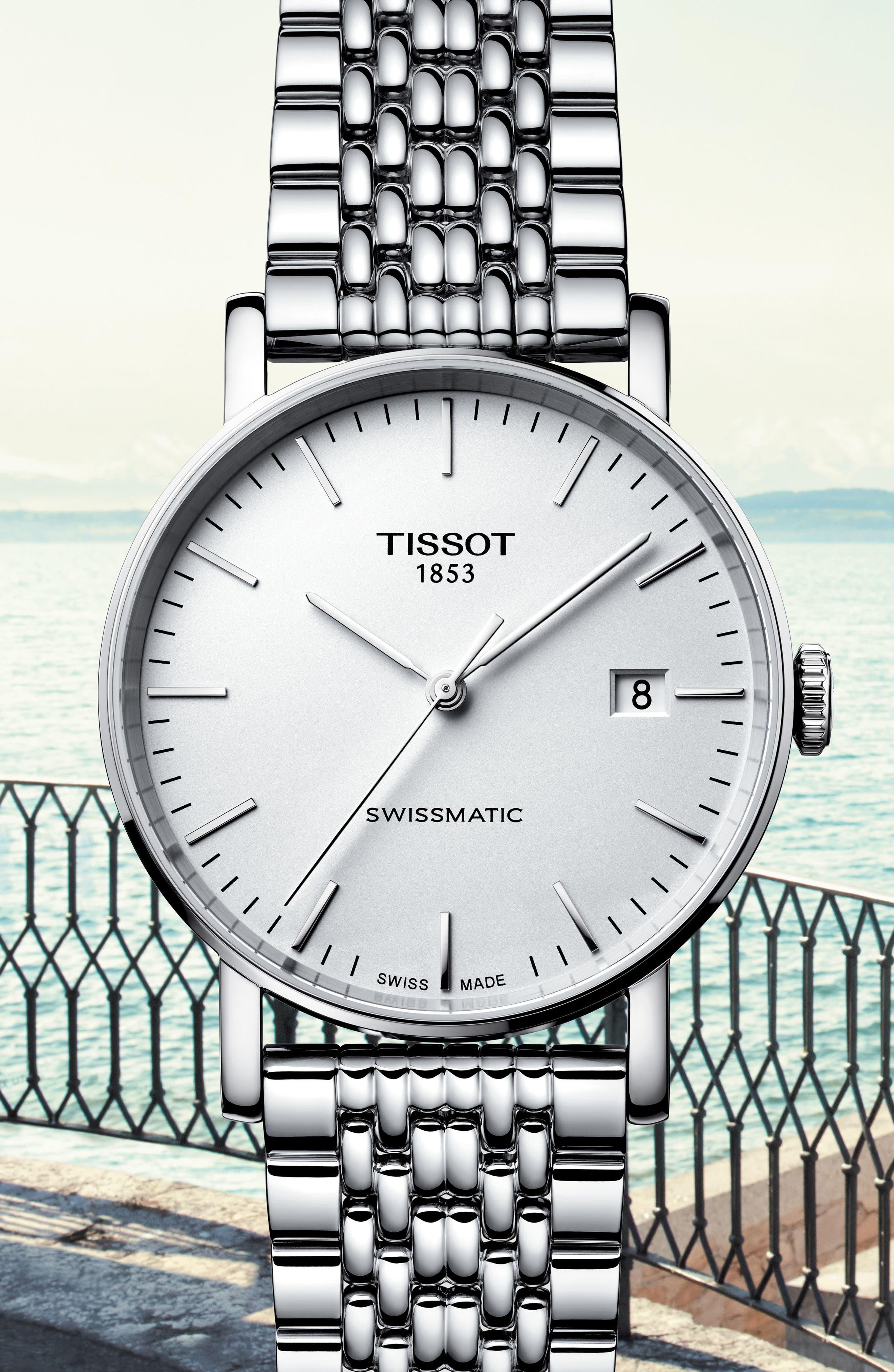 TISSOT,                             Everytime Swissmatic Automatic Bracelet Watch, 40mm,                             Alternate thumbnail 4, color,                             SILVER/ WHITE/ SILVER