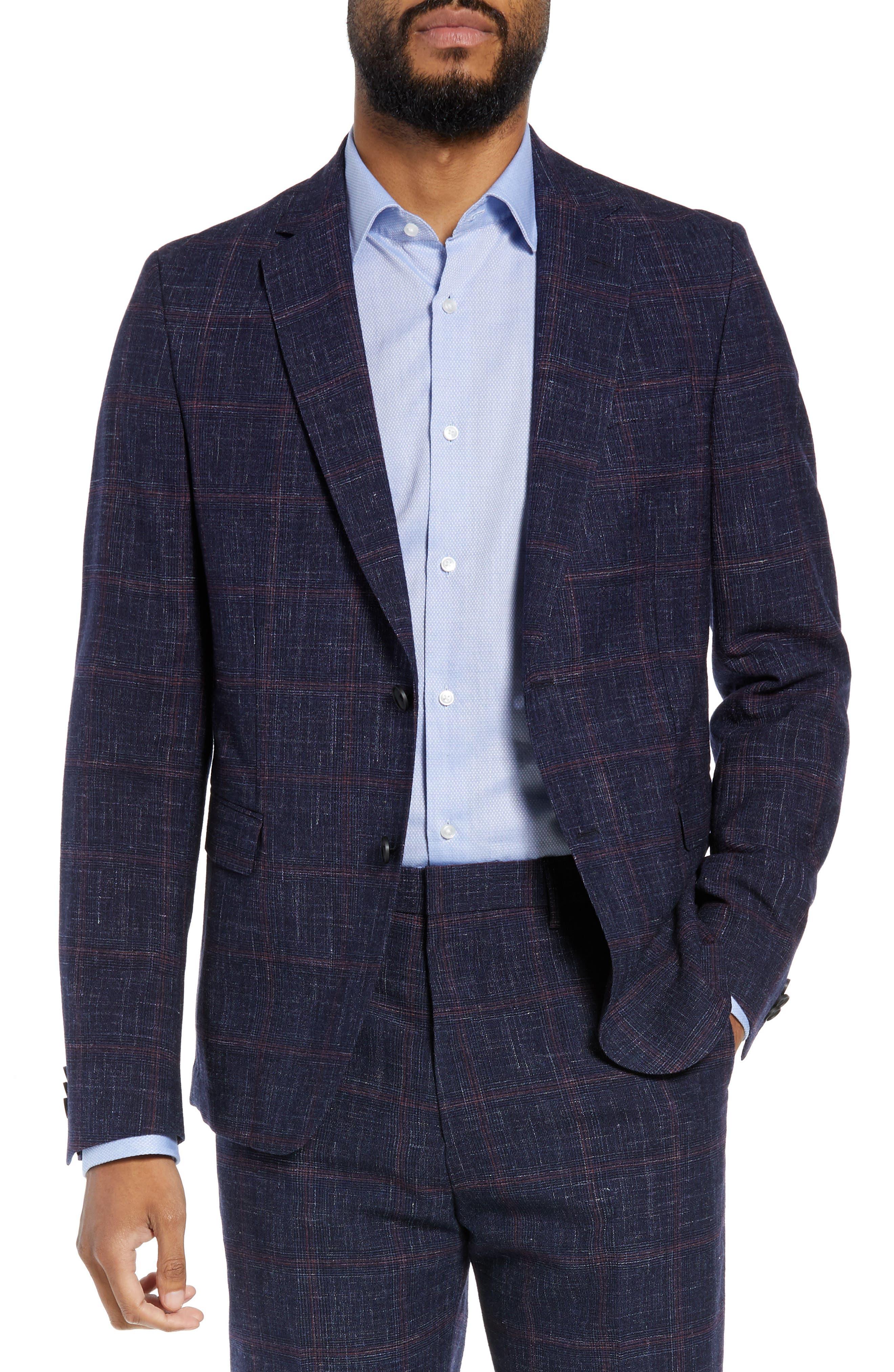 Nobis Trim Fit Plaid Wool Blend Sport Coat,                             Main thumbnail 1, color,                             DARK BLUE