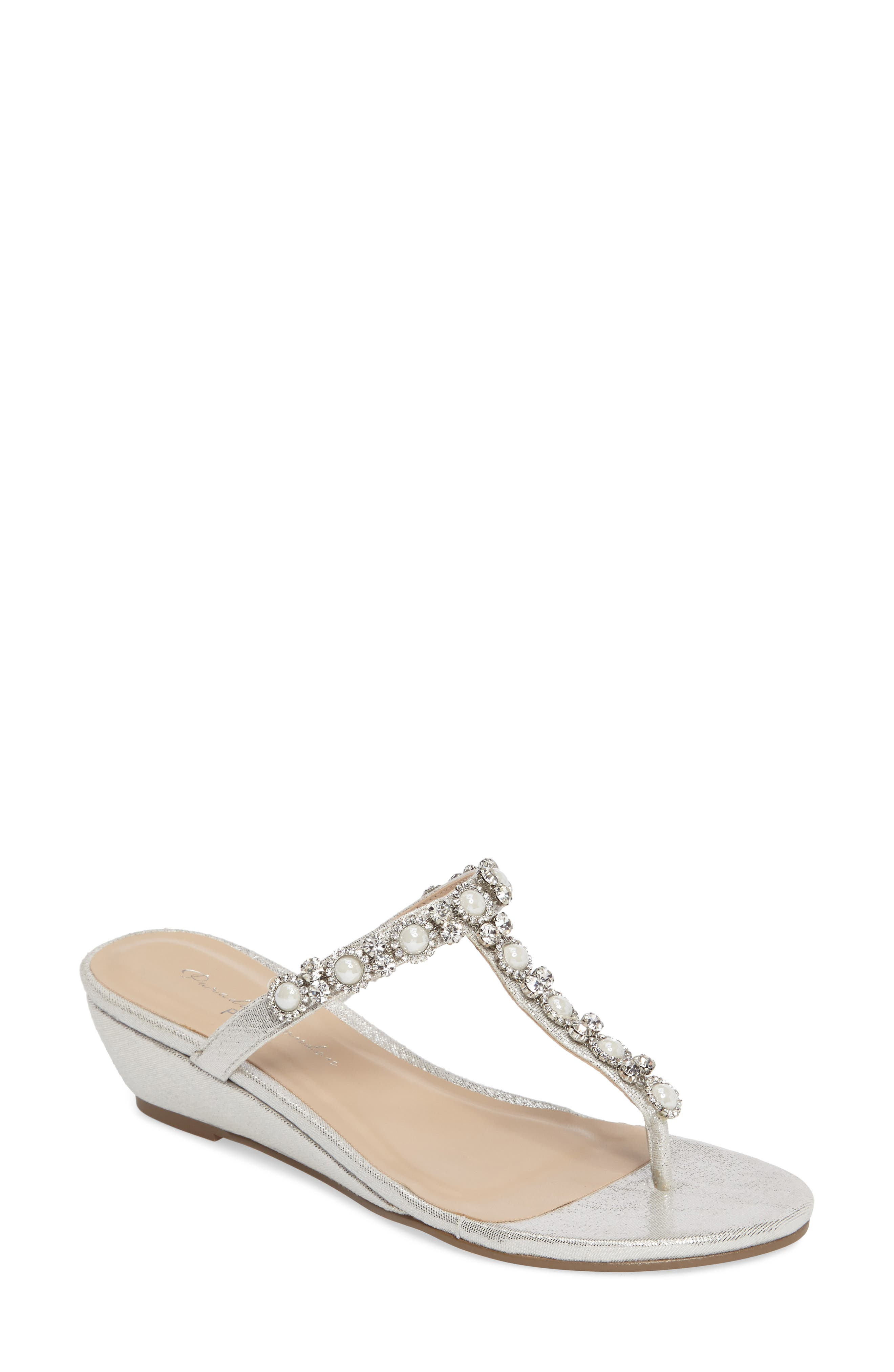 Marnie Embellished T-Strap Wedge,                             Main thumbnail 1, color,                             SILVER