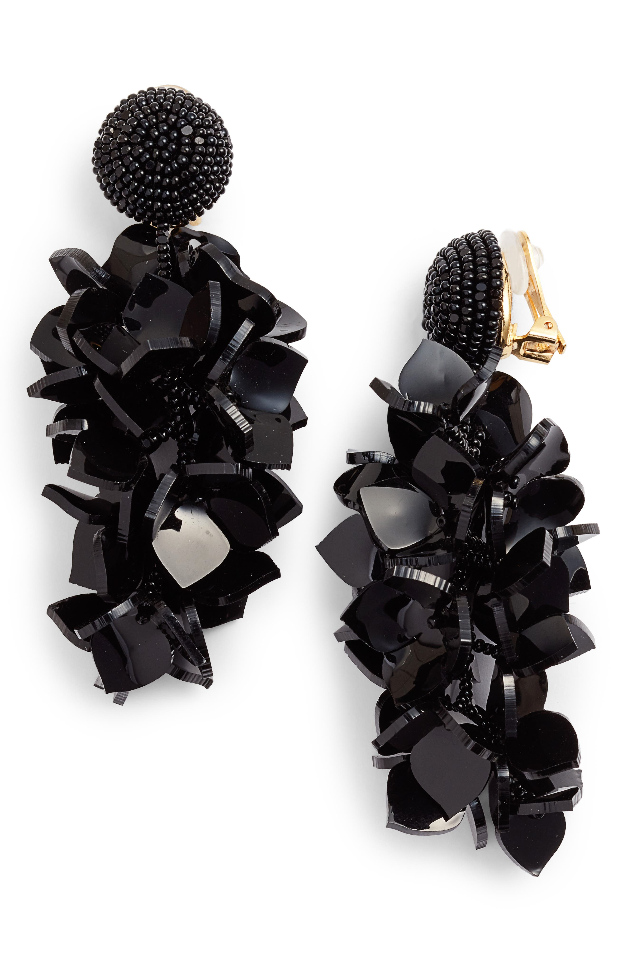 OSCAR DE LA RENTA,                             Falling Flowers Drop Earrings,                             Main thumbnail 1, color,                             001