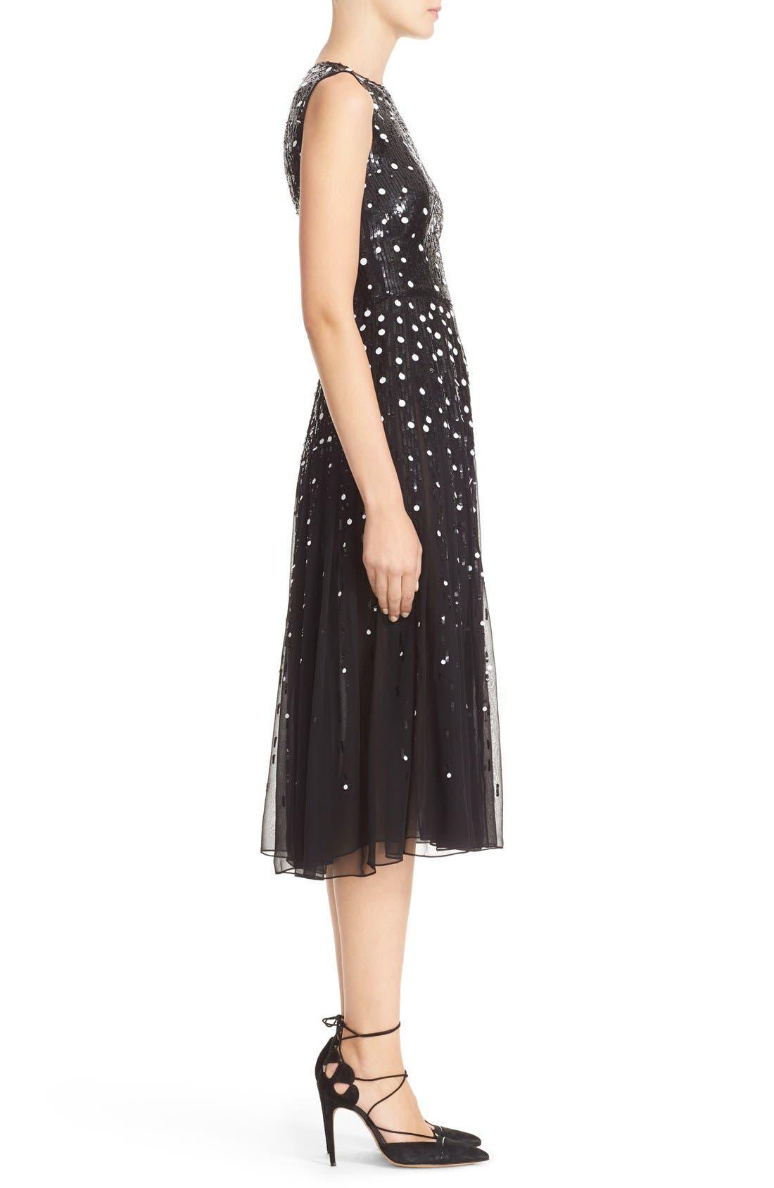 Dégradé Sequin Silk Midi Dress,                             Alternate thumbnail 2, color,                             BLACK/ WHITE