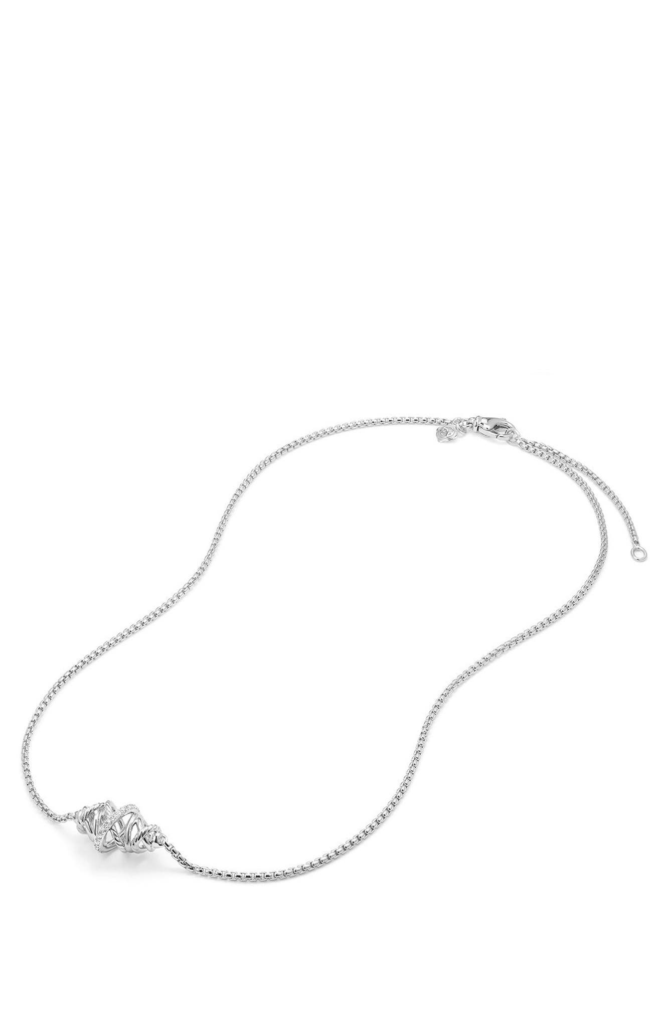 Crossover Single Station Necklace with Diamonds,                             Alternate thumbnail 3, color,                             SILVER