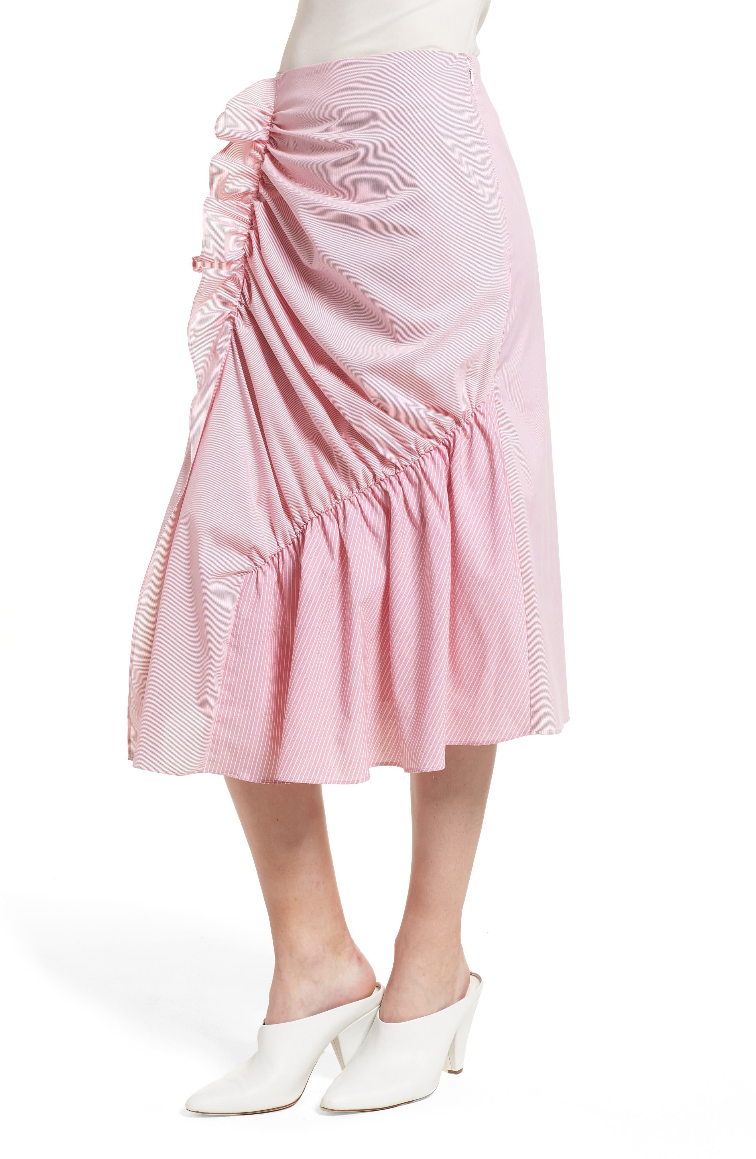 Mixed Stripe Poplin A-Line Skirt,                             Alternate thumbnail 6, color,