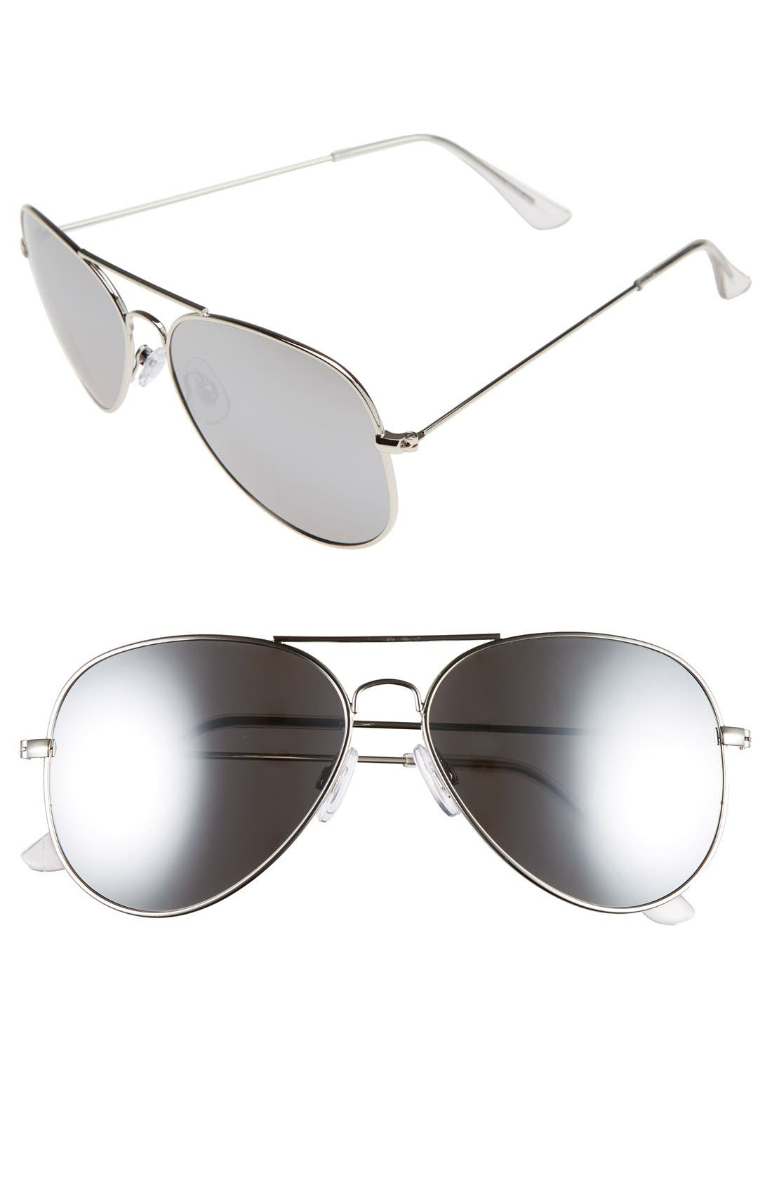 Mirrored Aviator 57mm Sunglasses,                             Main thumbnail 6, color,