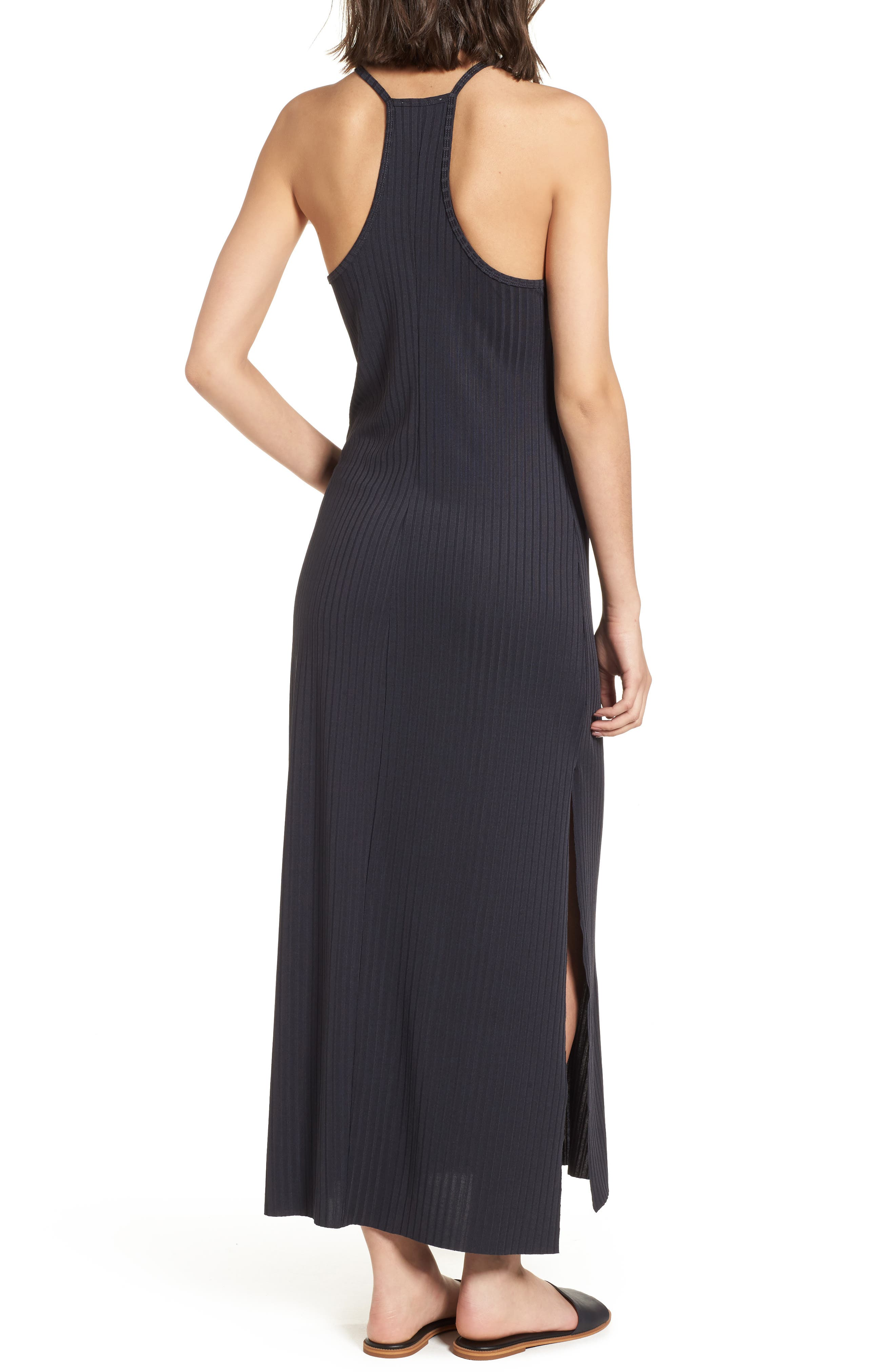 Ashlynn Ribbed Maxi Dress,                             Alternate thumbnail 2, color,                             NAVY