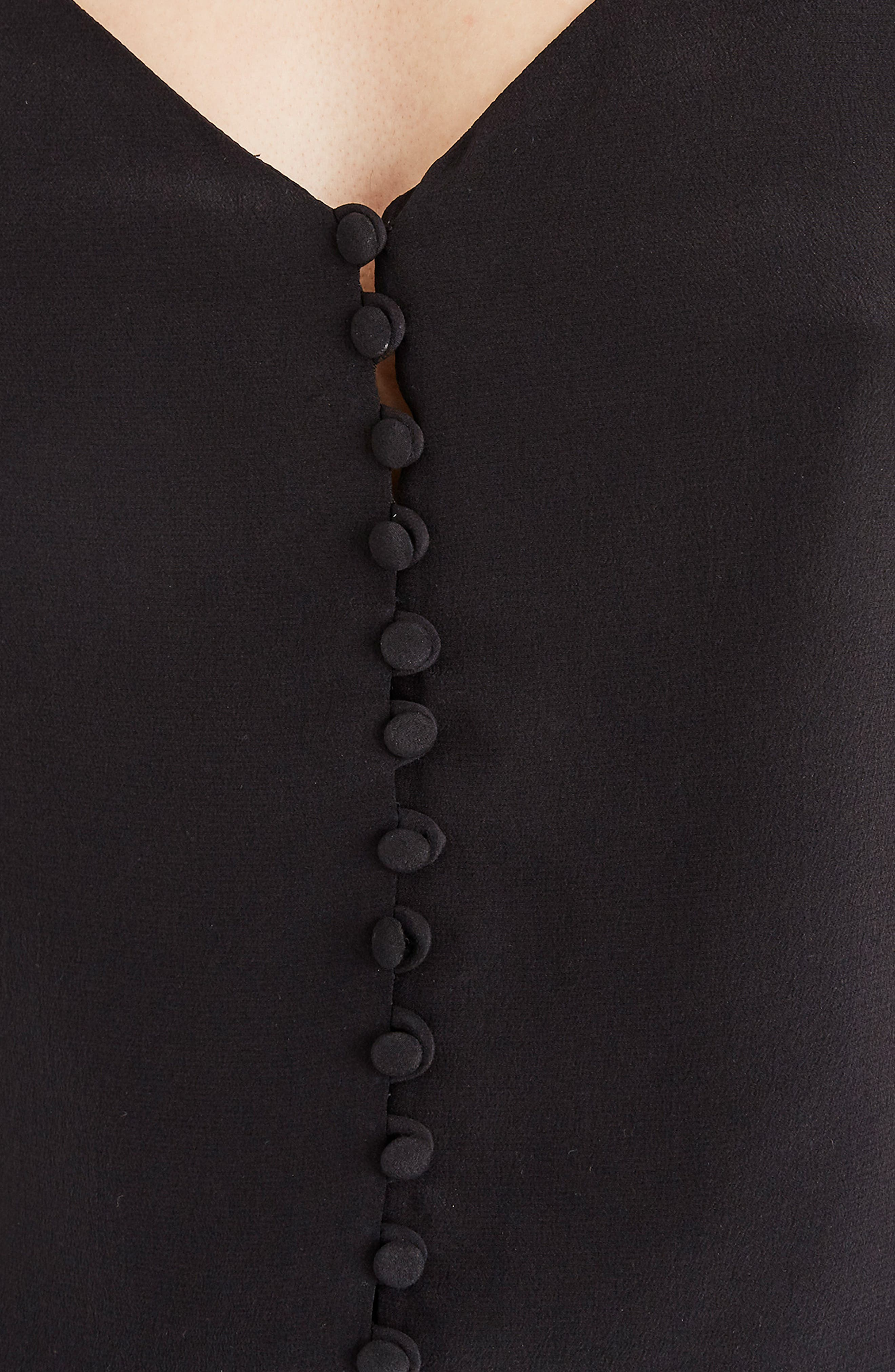 MADEWELL,                             Silk Button Down Camisole,                             Alternate thumbnail 3, color,                             TRUE BLACK