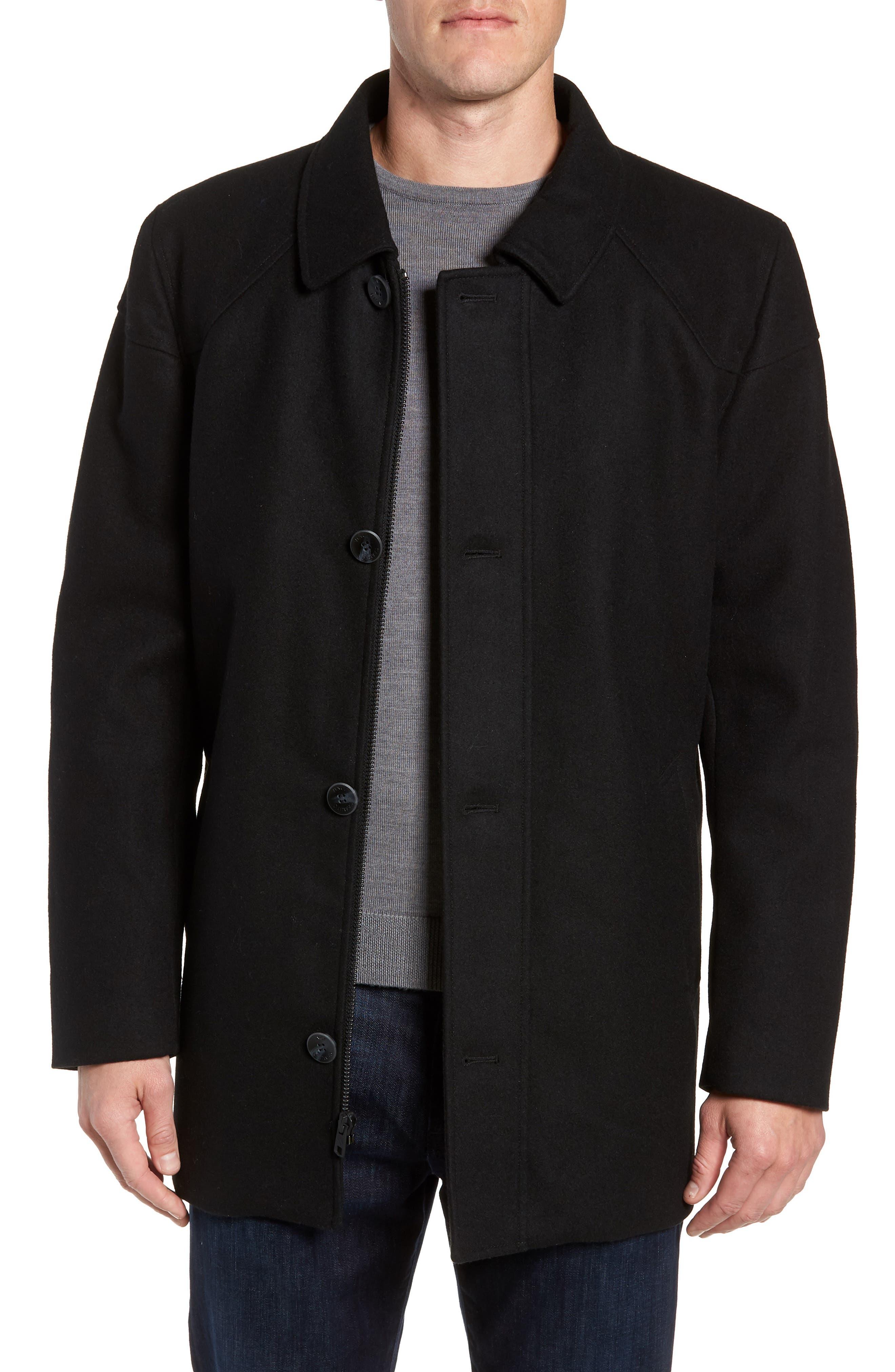 Melton Car Coat with Removable Bib,                             Alternate thumbnail 5, color,                             BLACK