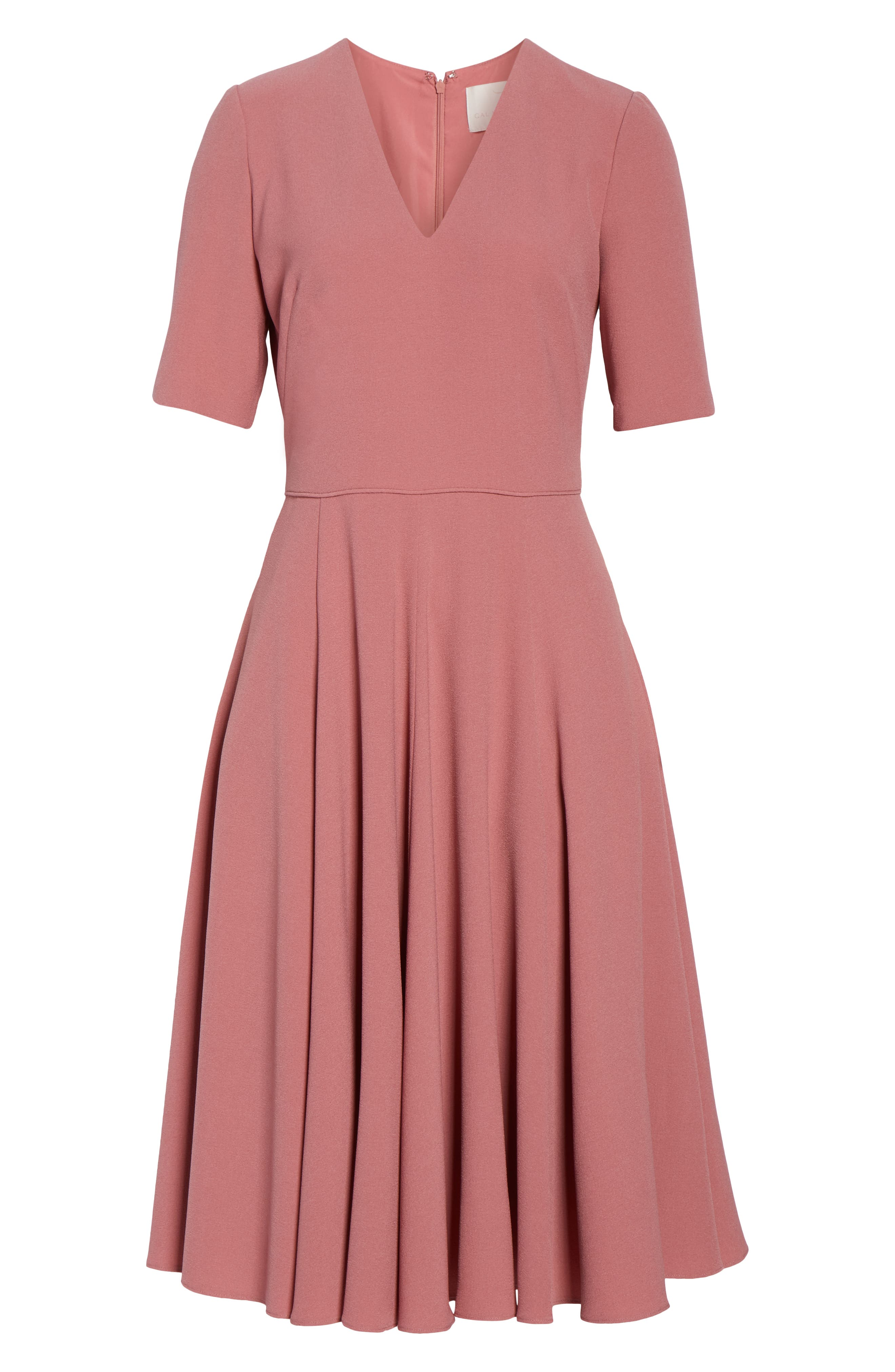 Edith City Crepe Fit & Flare Midi Dress,                             Alternate thumbnail 7, color,                             UPTOWN PINK