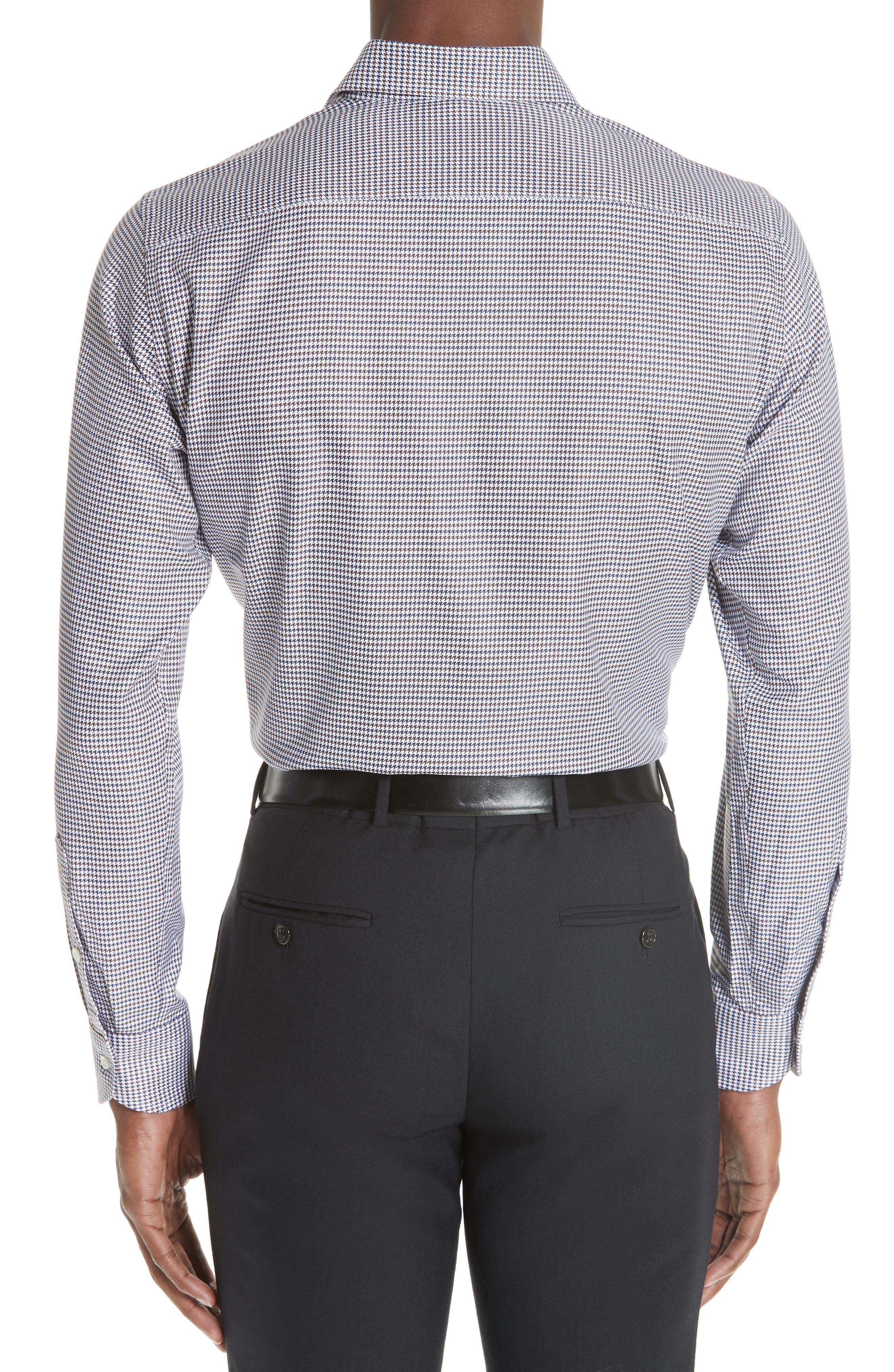 Regular Fit Houndstooth Dress Shirt,                             Alternate thumbnail 3, color,                             NAVY/ BROWN