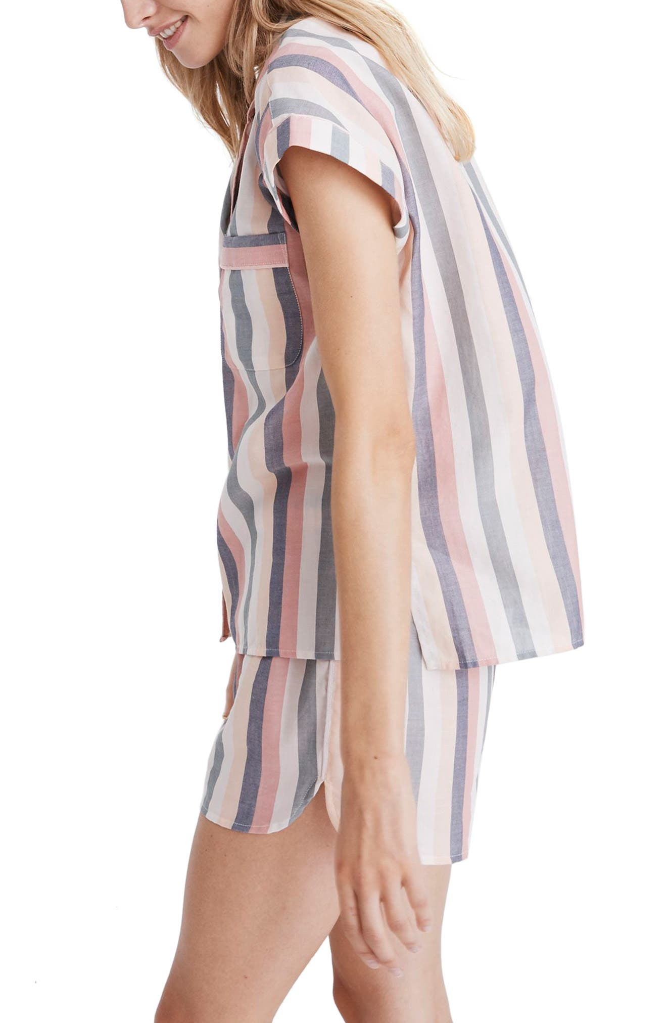 MADEWELL Bedtime Lonnie Stripe Pajama Top, Main, color, 650