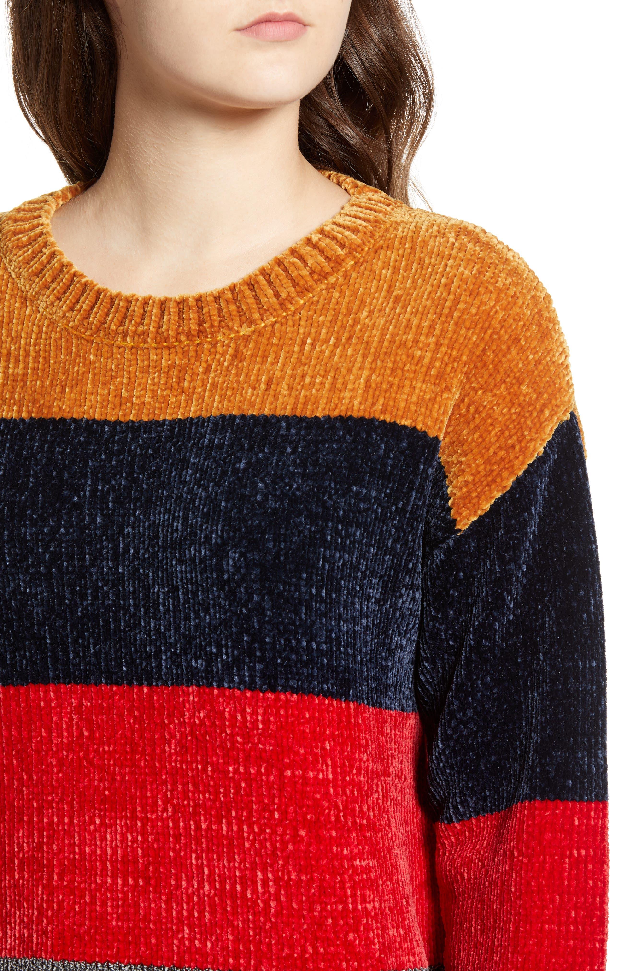 COTTON EMPORIUM,                             Stripe Chenille Sweater,                             Alternate thumbnail 4, color,                             710