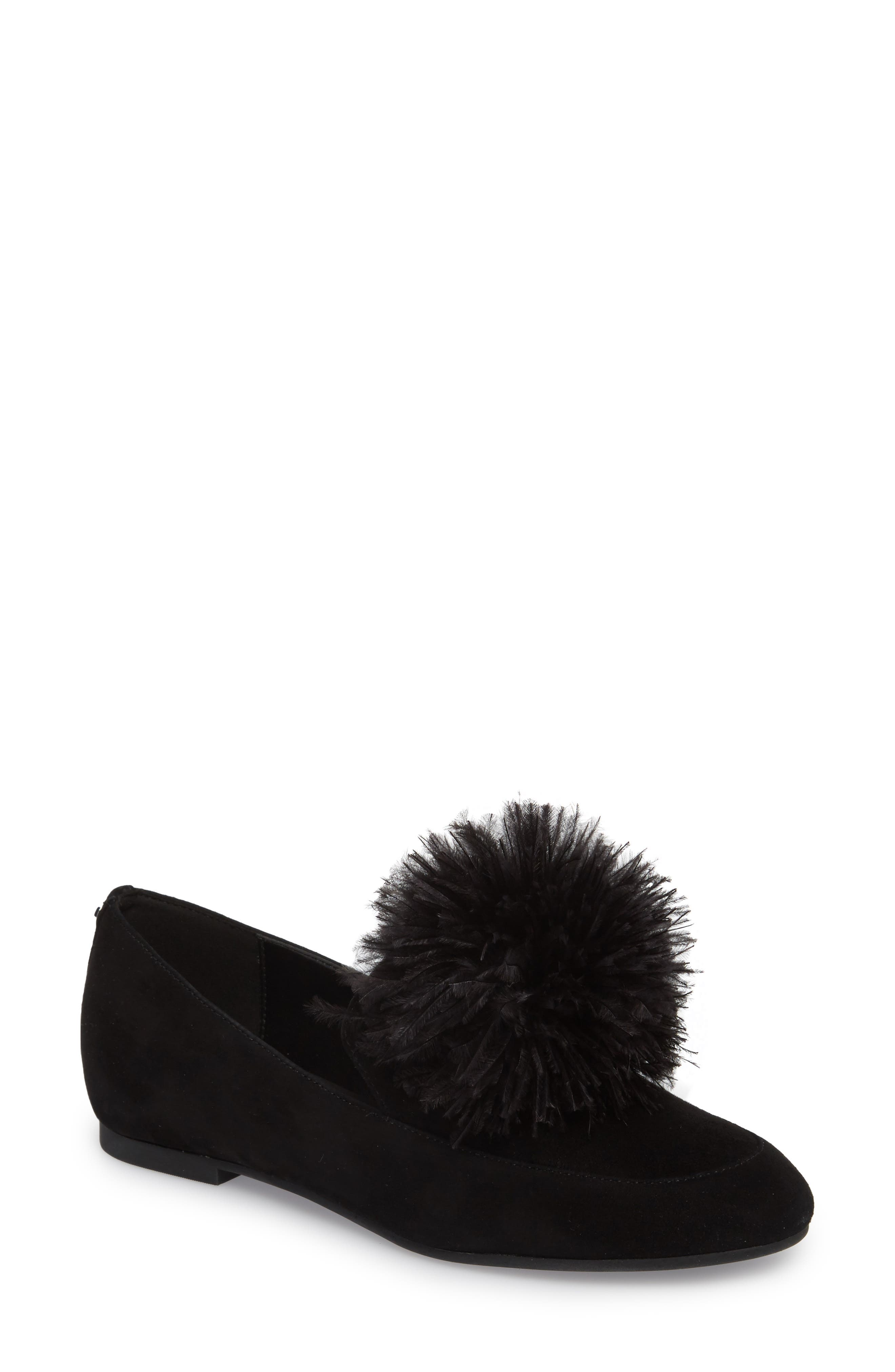 Fara Feather Pom Loafer,                             Main thumbnail 1, color,                             001