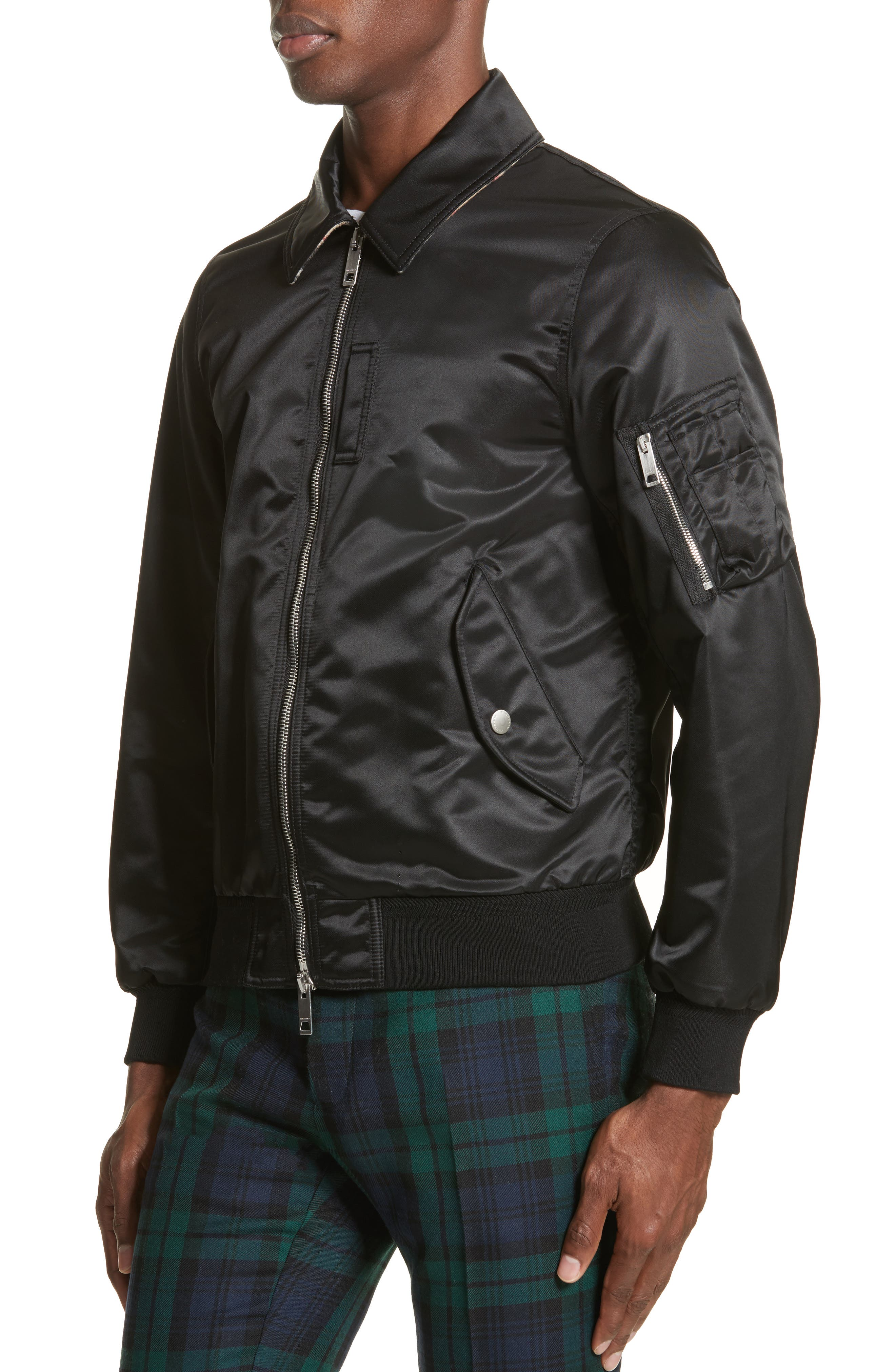 Pipley Spread Collar Bomber Jacket,                             Alternate thumbnail 4, color,                             001