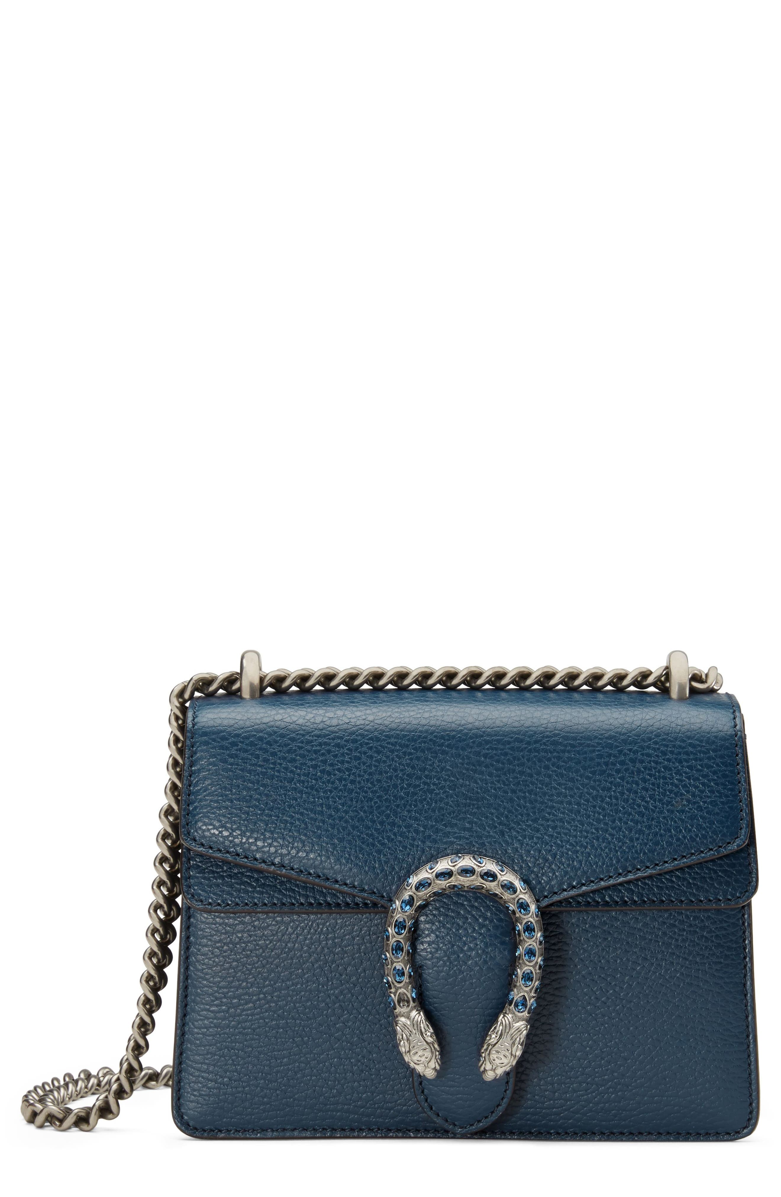 Mini Dionysus Leather Shoulder Bag,                             Main thumbnail 1, color,                             BLU AGATA/ MONTANA