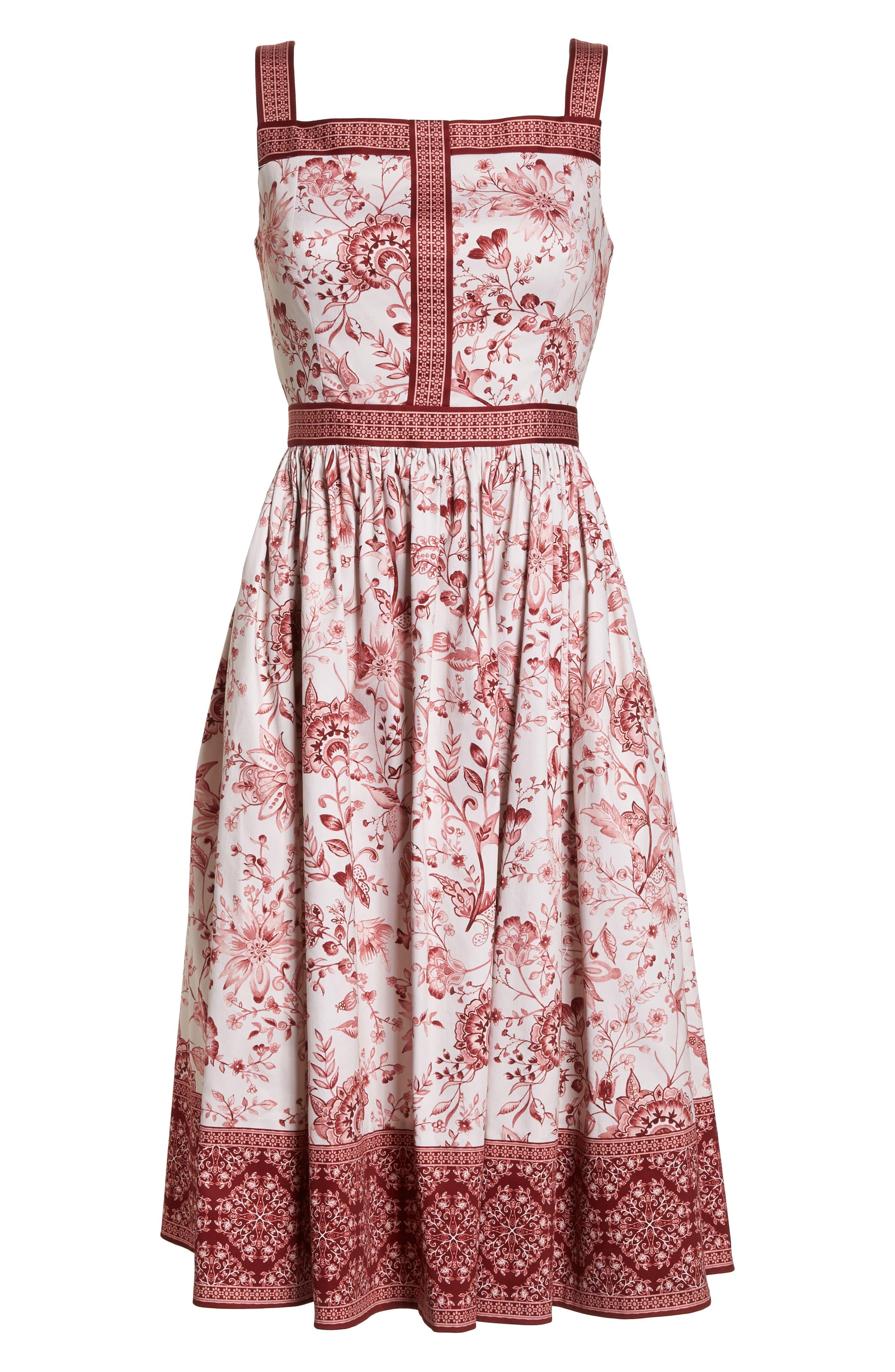Esme Floral Fit & Flare Dress,                             Alternate thumbnail 7, color,                             690