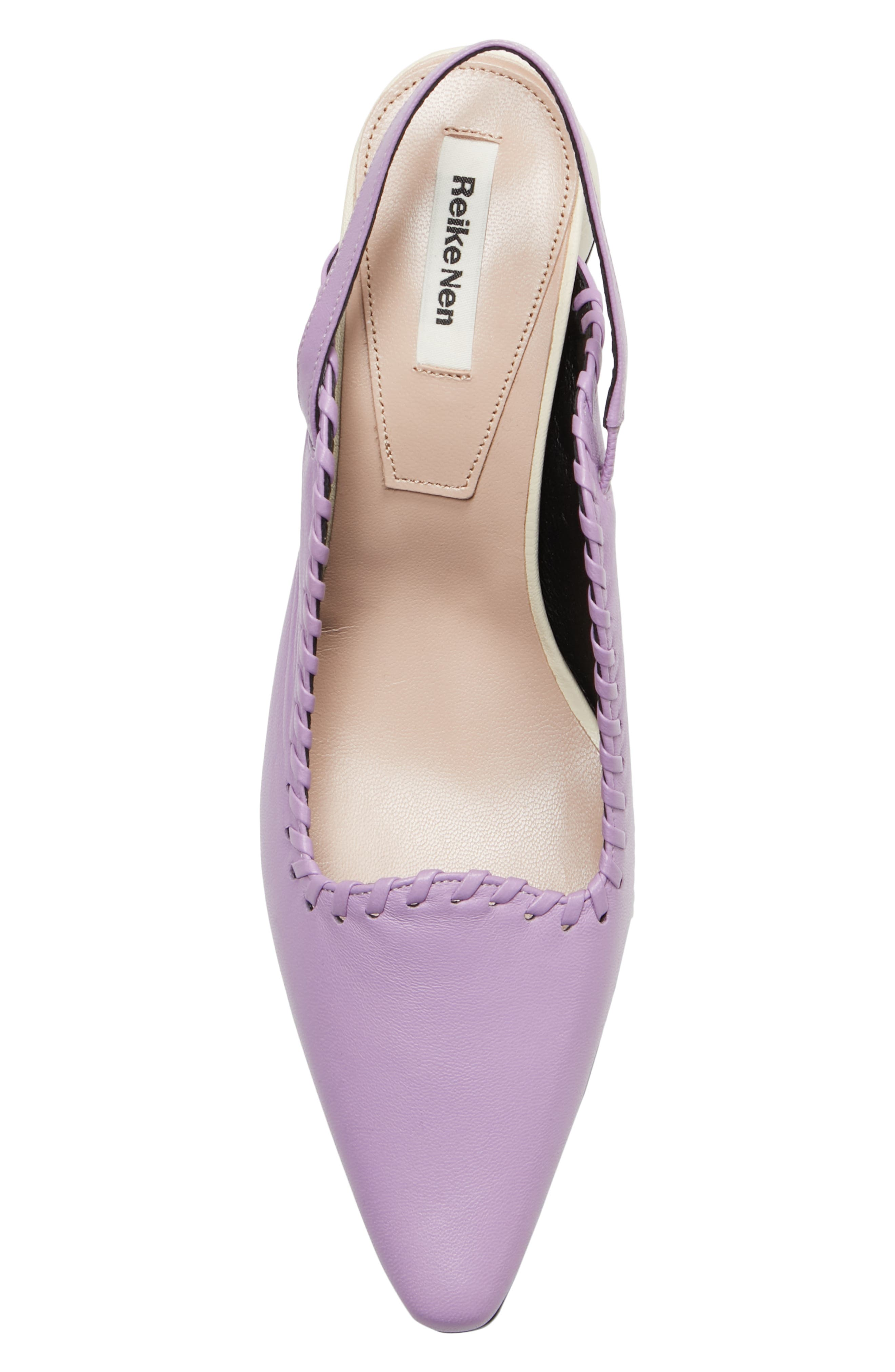 Curved Middle Slingback Pump,                             Alternate thumbnail 5, color,                             PURPLE IVORY
